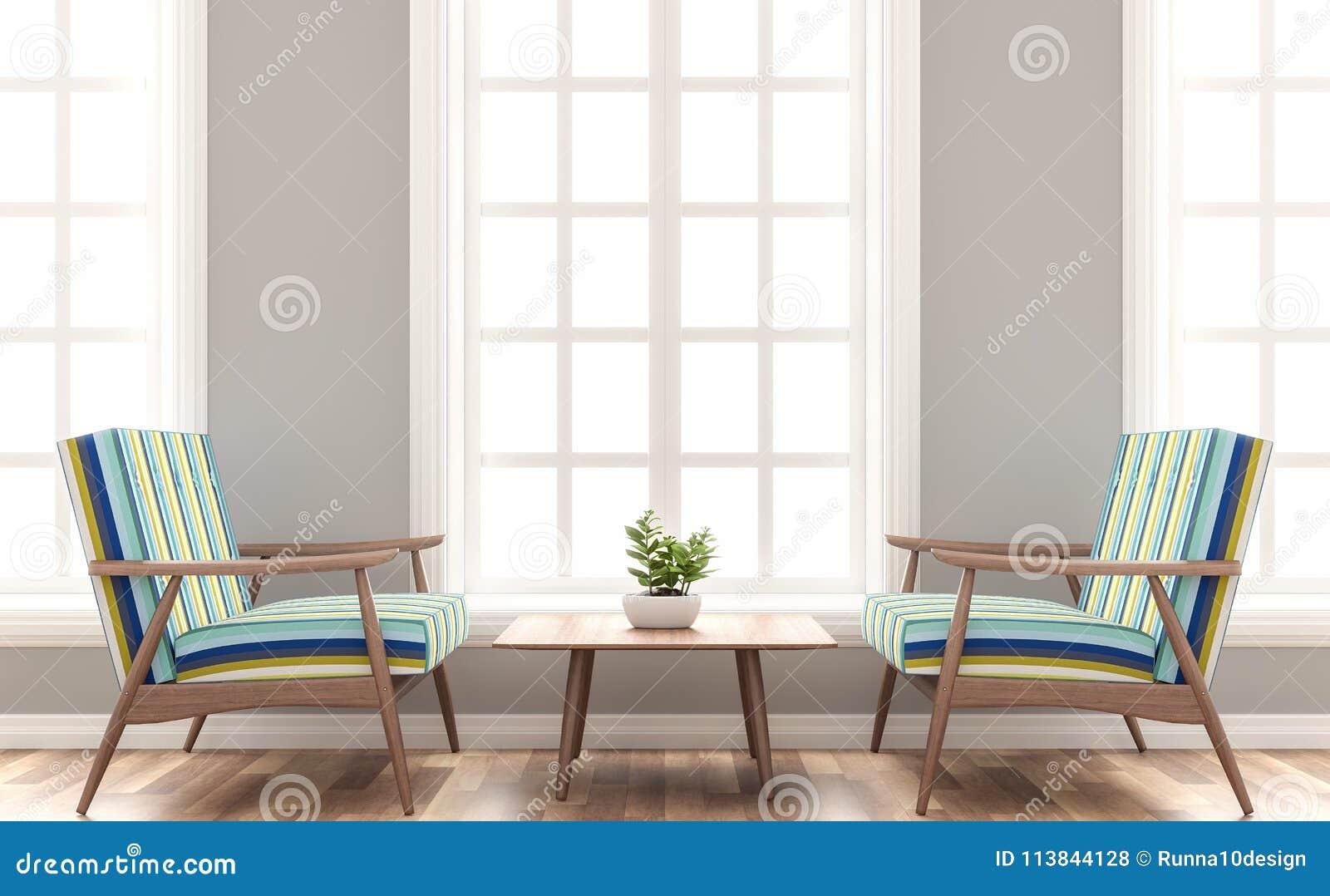 Le Salon Scandinave De Maison Avec Le Siège En Bois Et Coloré 3d De