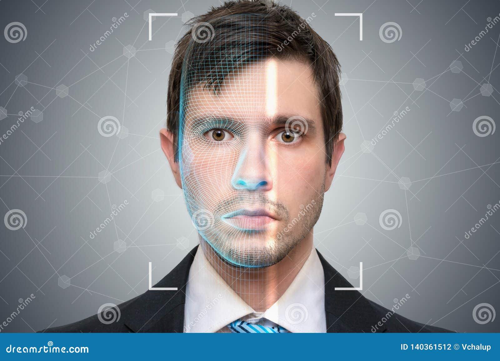 Le scanner biométrique balaye le visage du jeune homme Concept de détection et de reconnaissance