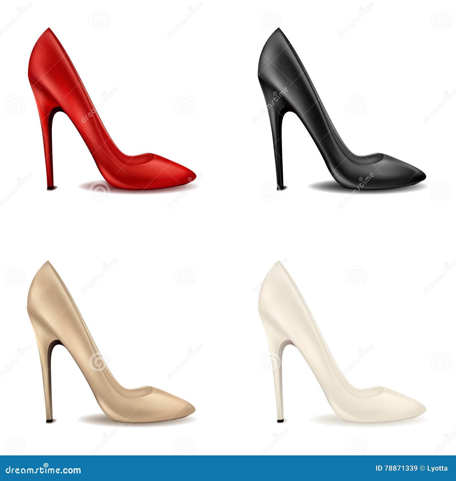 le scarpe rosse delle donne eleganti sull insieme a tacco alto luminoso delle scarpe classiche femminili con i tacchi alti nei co illustrazione vettoriale illustrazione di decorativo decorato 78871339 dreamstime