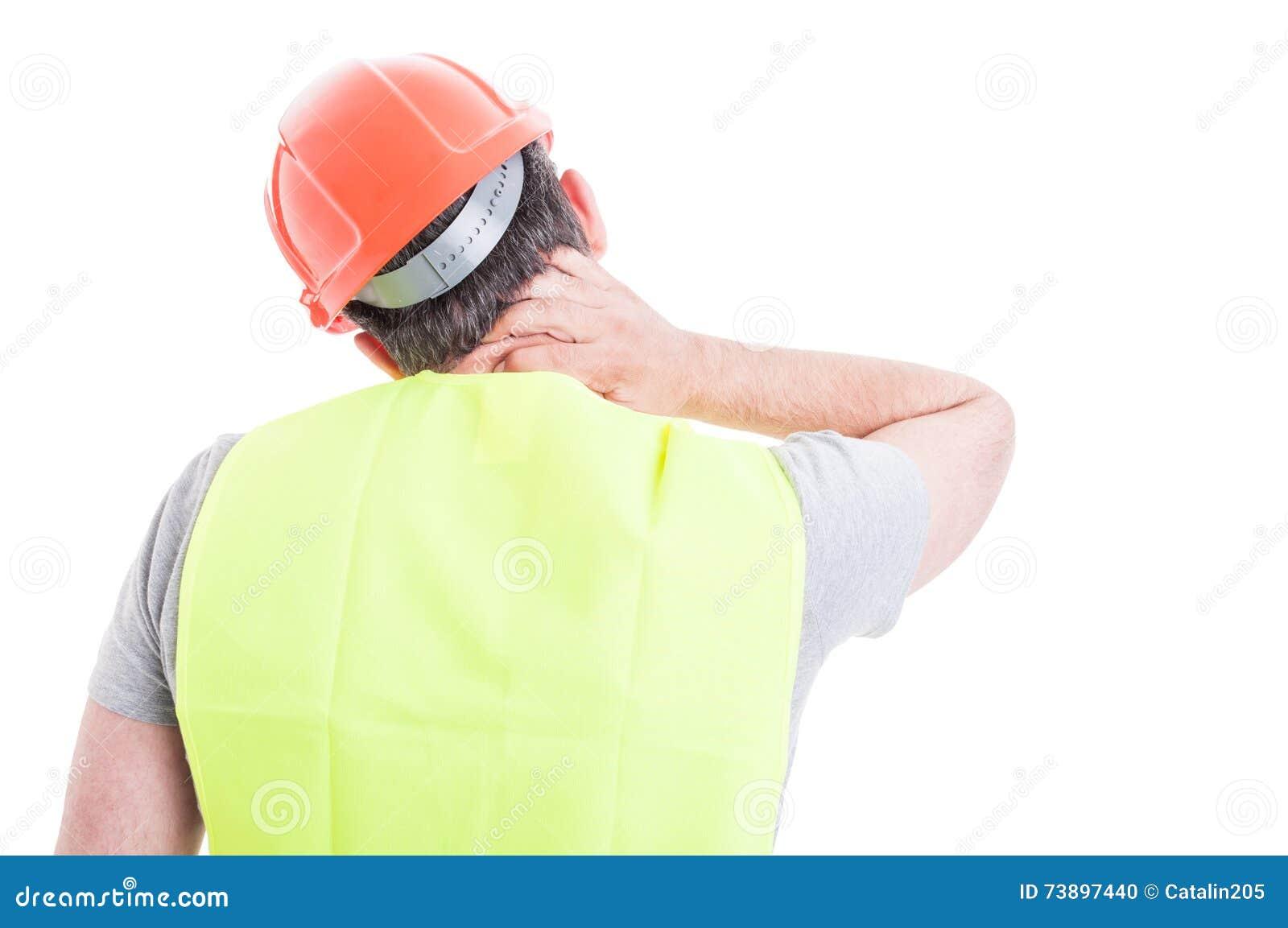 Le sentiment soumis à une contrainte de constructeur a fatigué et ayant la douleur cervicale