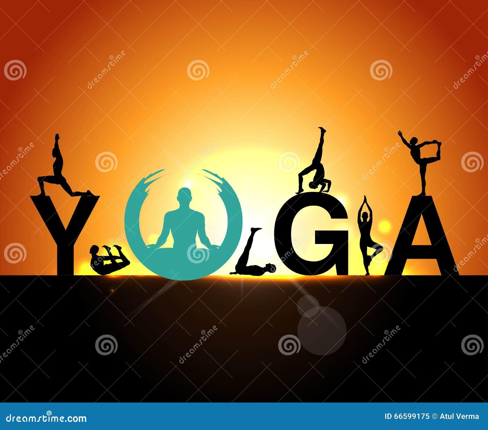 Le siluette nell yoga posa un fondo di primo mattino, il giorno di yoga del mondo, i modelli di progettazione per il centro della