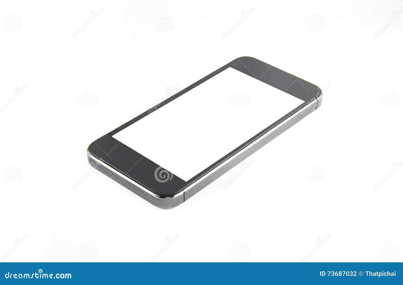 Le smartphone moderne noir avec l écran vide se trouve sur la surface, d isolement sur le fond blanc Image entière au foyer