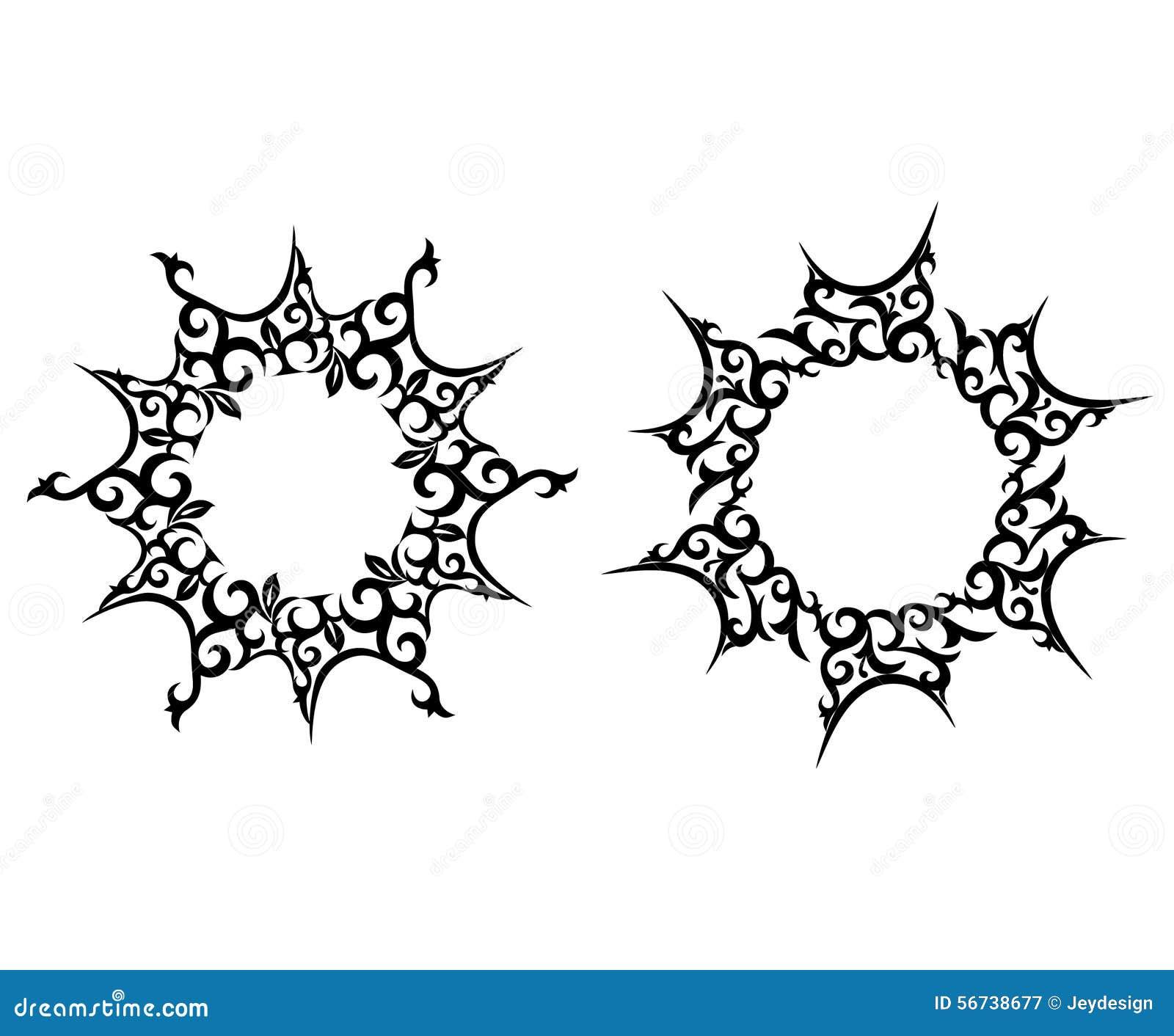 Le Soleil Abstrait Tatouage De Fleur Illustration De Vecteur