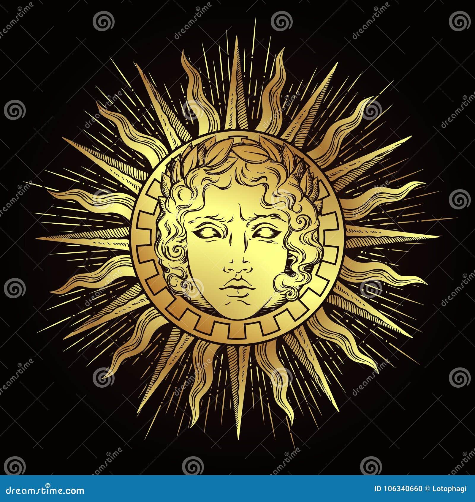 Le soleil antique tiré par la main de style avec le visage du dieu grec et romain Apollo Tatouage ou illustration instantané de v