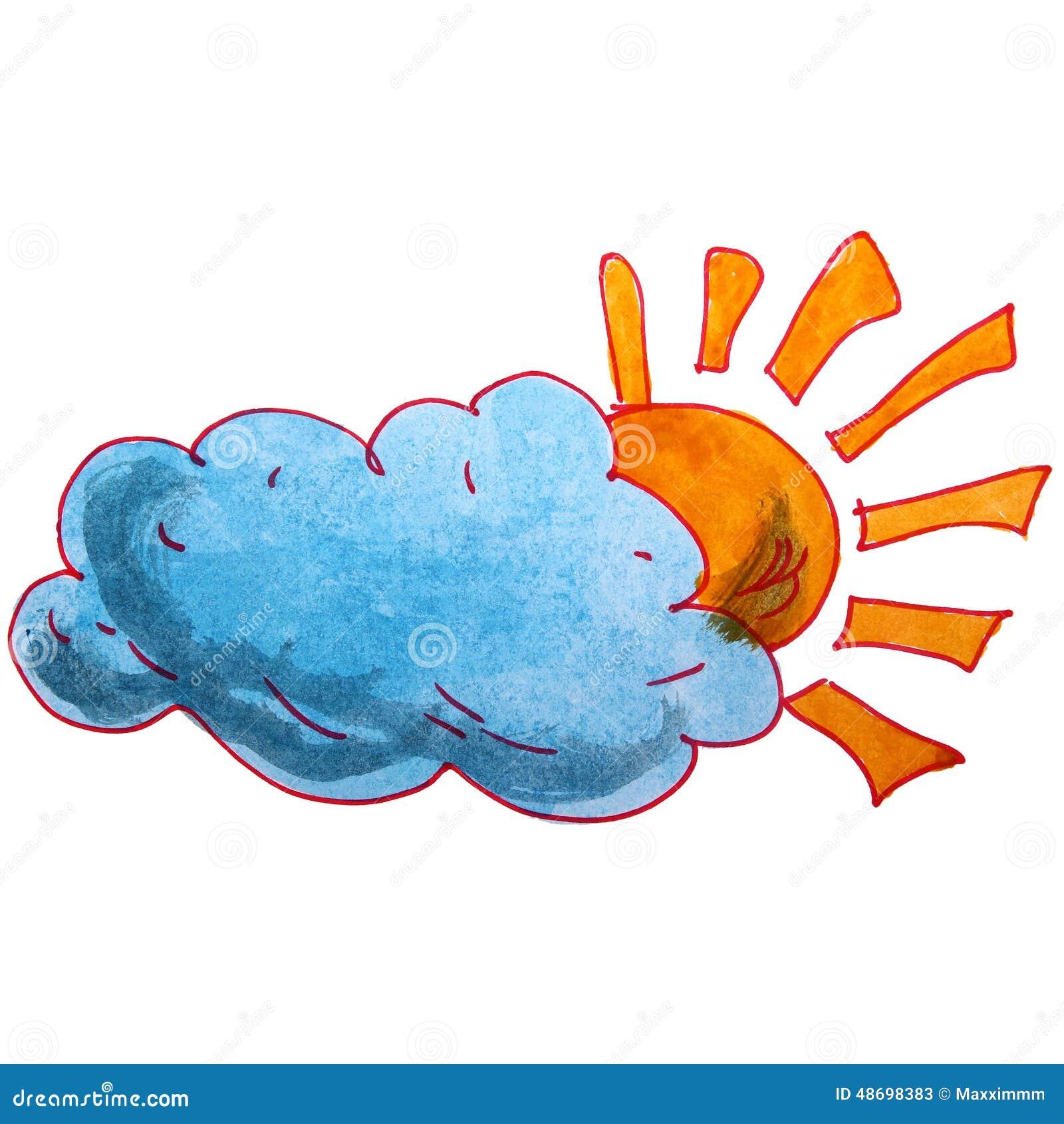 le soleil de bande dessin e de nuage d 39 aquarelle d 39 enfants de dessin sur a illustration stock. Black Bedroom Furniture Sets. Home Design Ideas