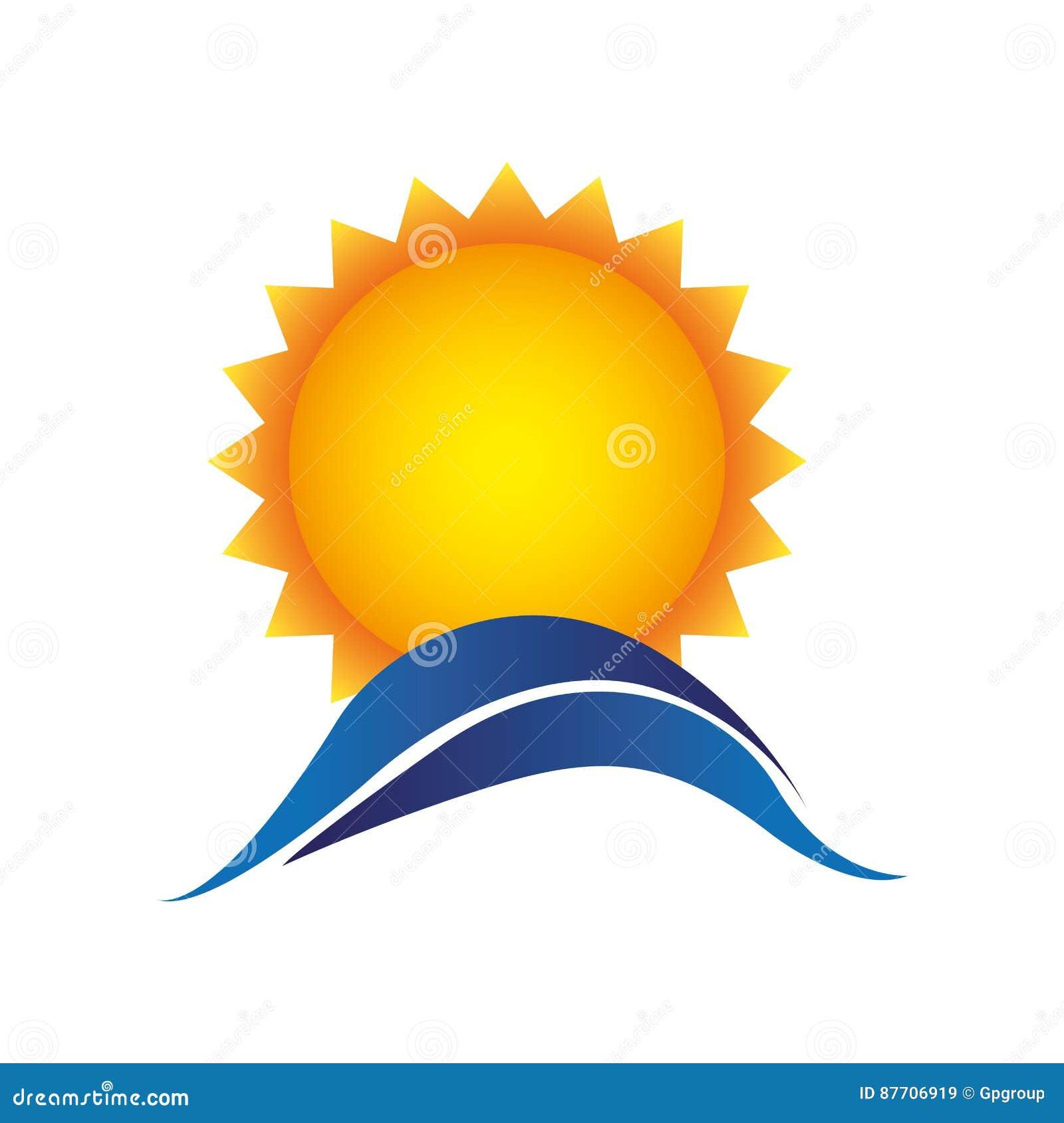Le soleil de couleur avec l icône bleue de montagne