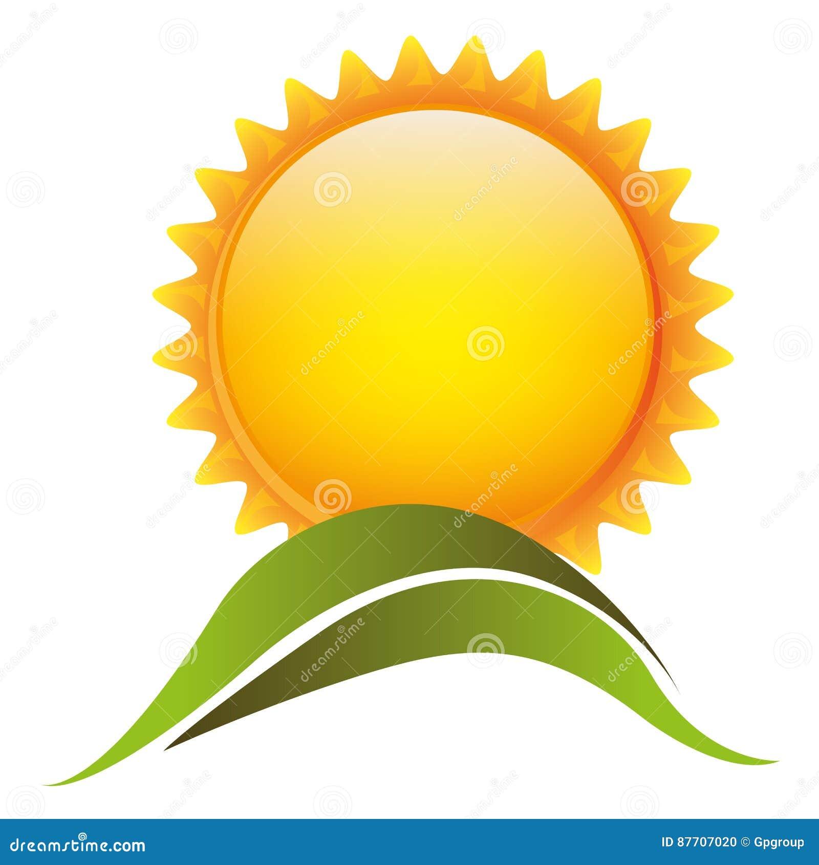 Le soleil de couleur avec l icône de montagne