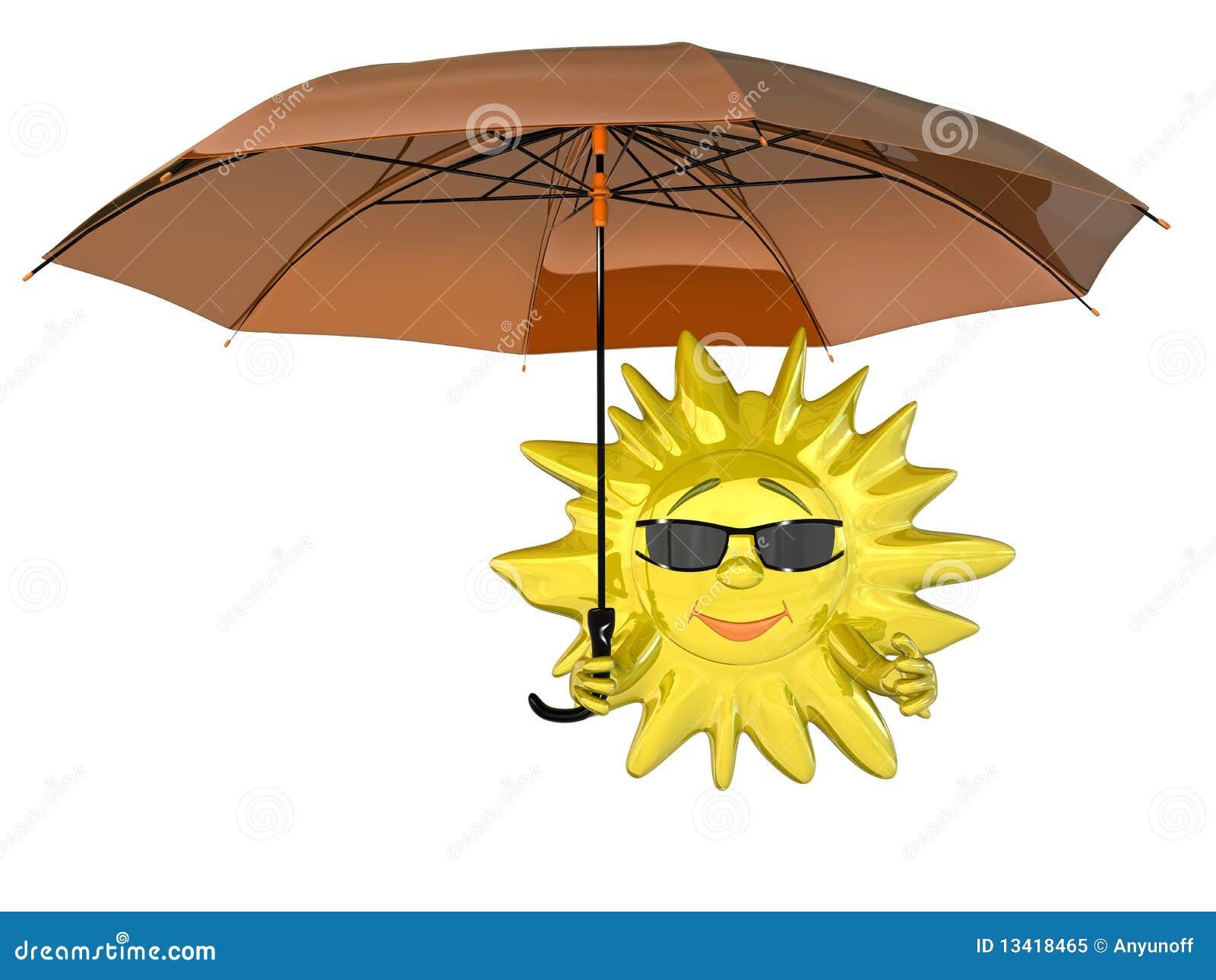 Le soleil de dessin animé avec le parapluie