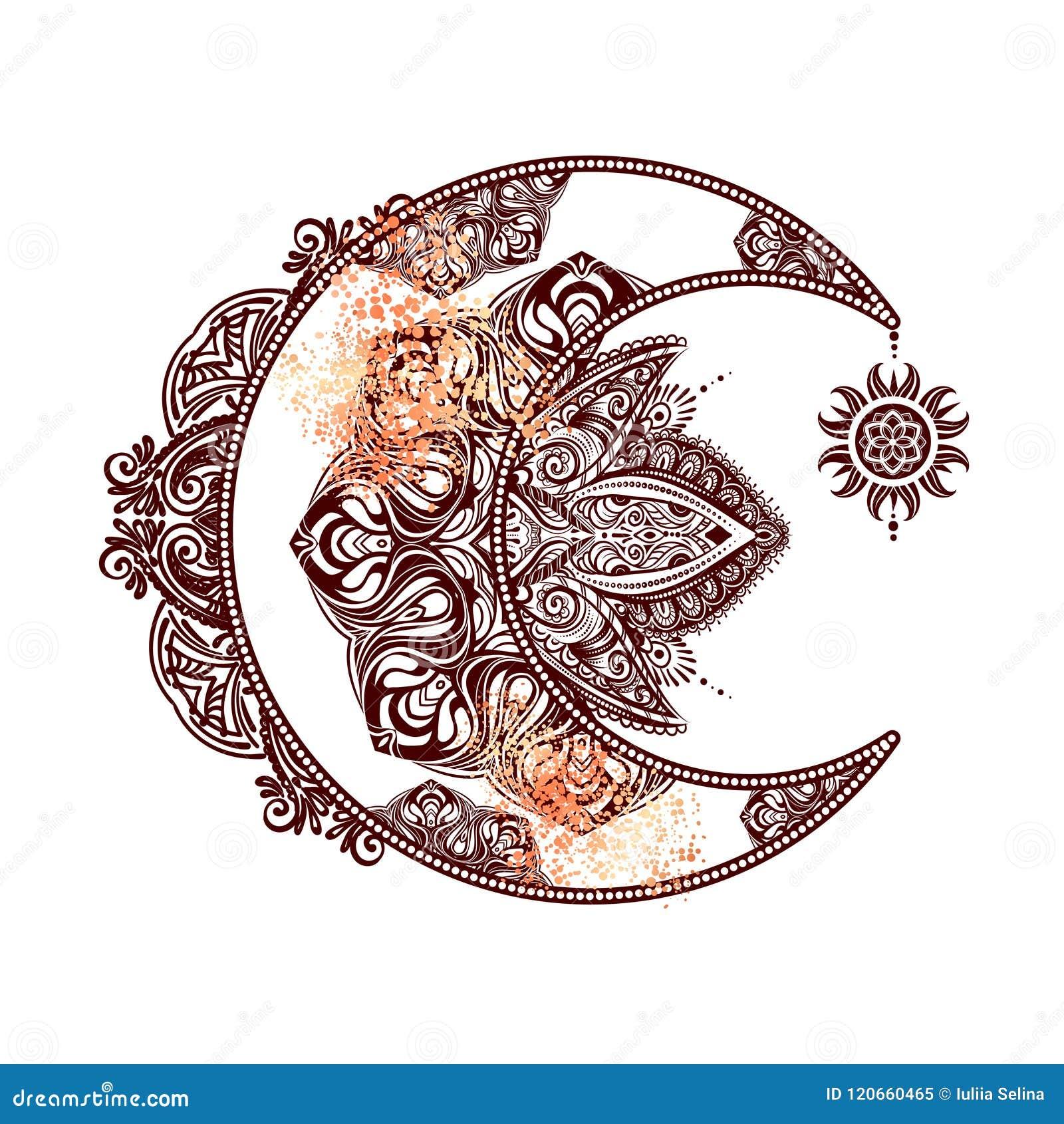 Le Soleil De Lune D Alchimie Illustration Stock