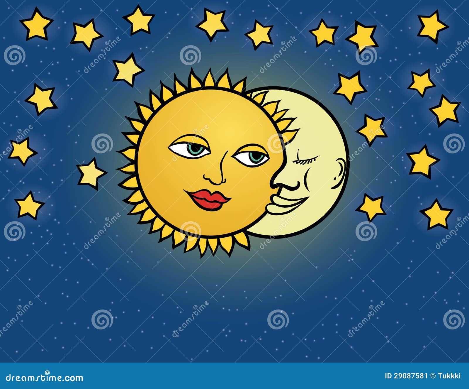 le soleil de lune illustration de vecteur illustration de vecteur image 29087581. Black Bedroom Furniture Sets. Home Design Ideas