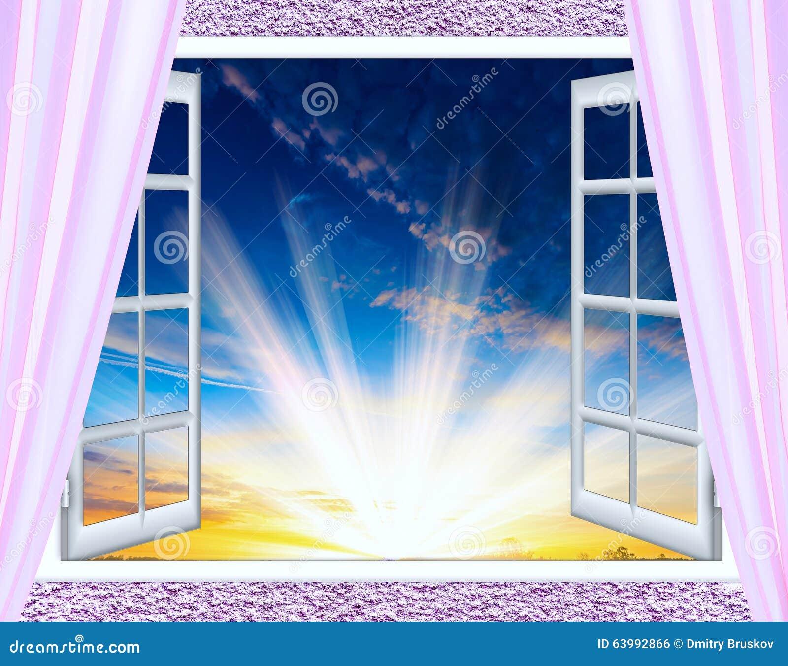 Le soleil de nuage de fen tre ouverte photo stock image for Fenetre soleil