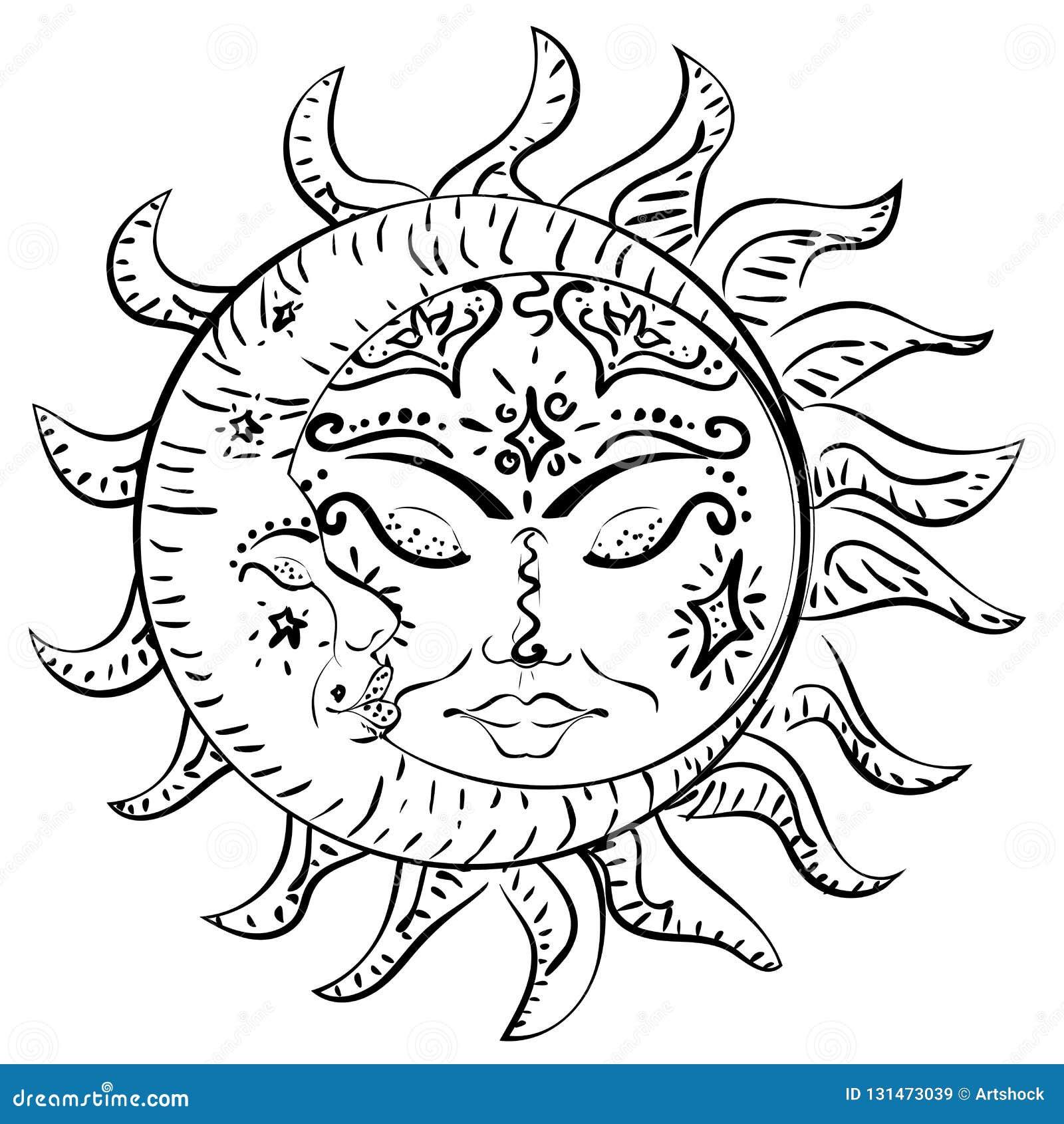 Le Soleil Et Lune De Sommeil De Tatouage Illustration De