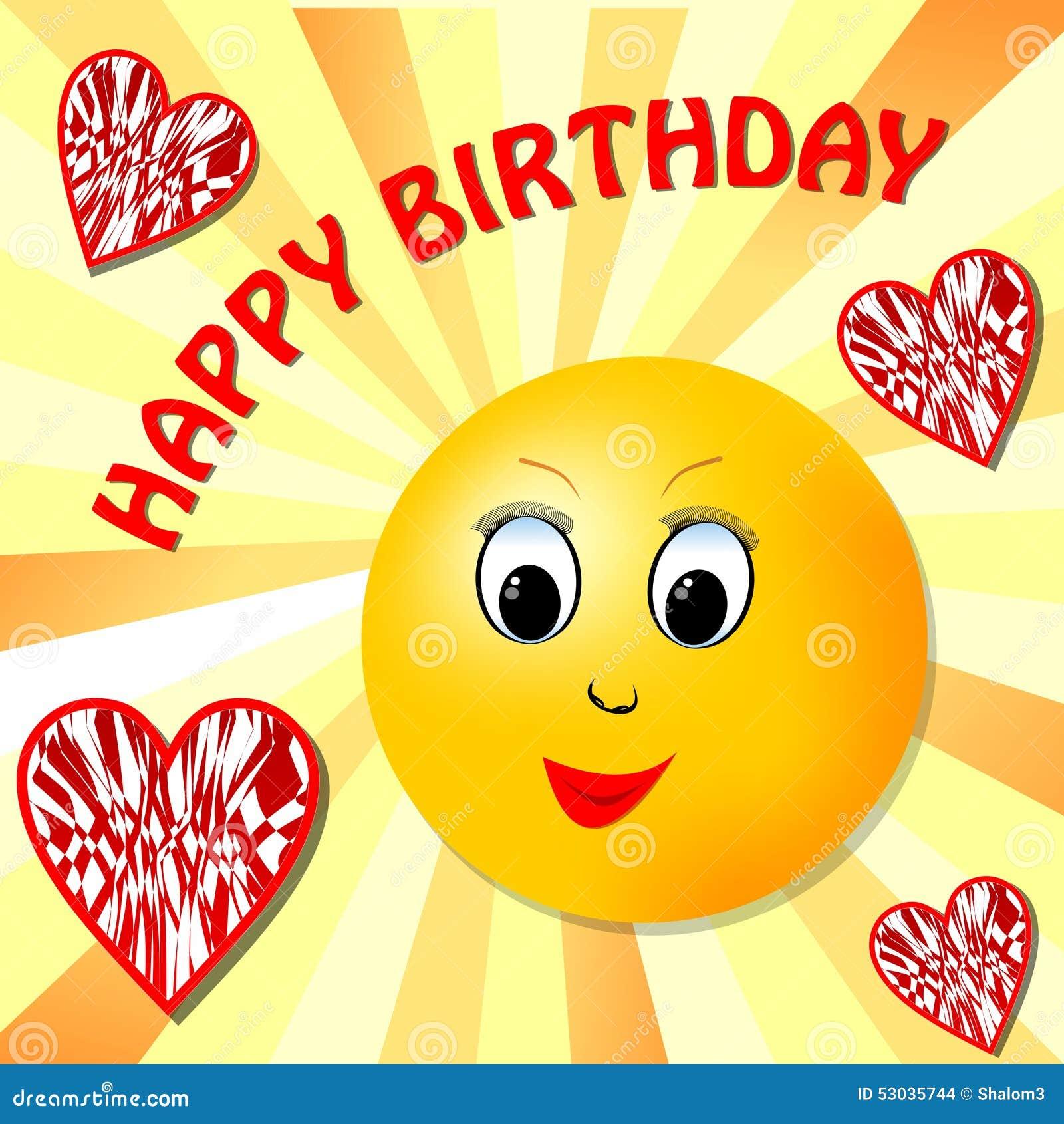 Открытка - солнышко с бокалом поздравляет с Днем рождения 42
