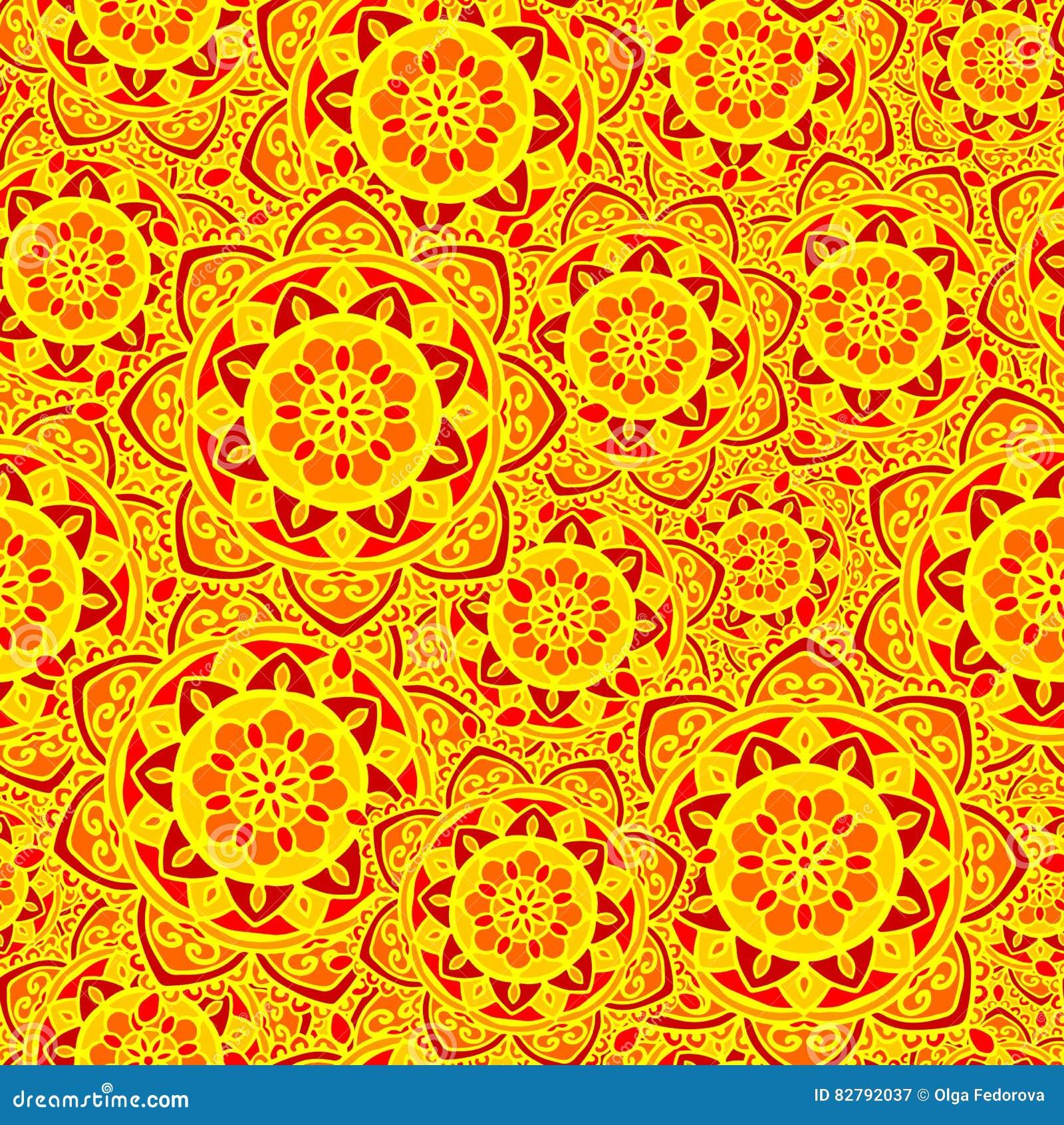 Le soleil rouge de fleur de mod le de jaune sans couture - Modele de mandala ...