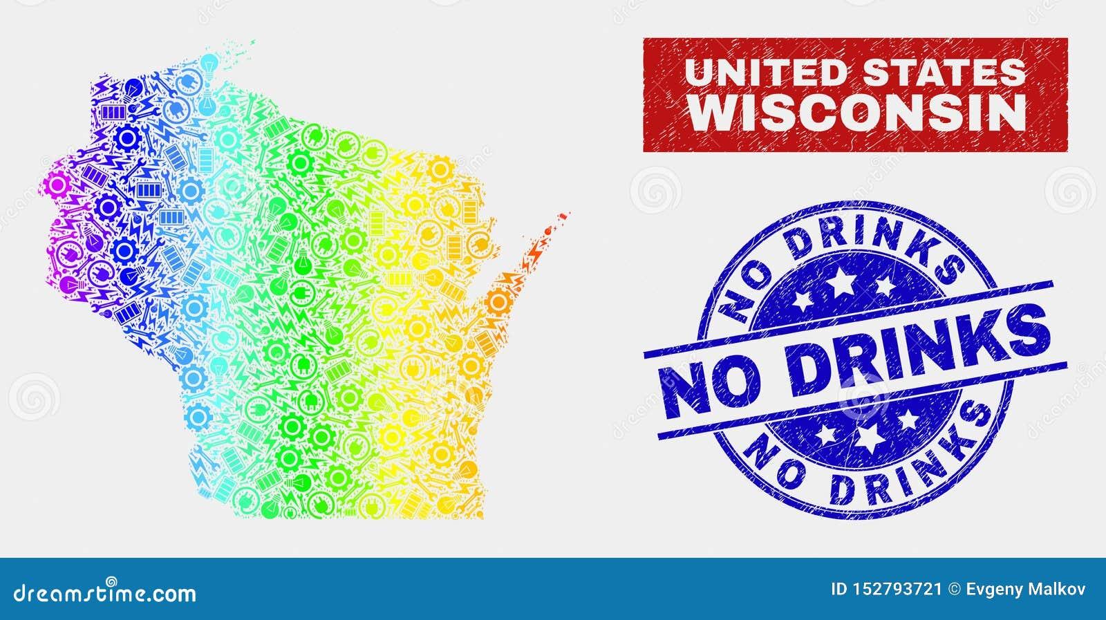 Le spectre entretiennent la carte d état du Wisconsin et n ont rayé aucun timbre de boissons