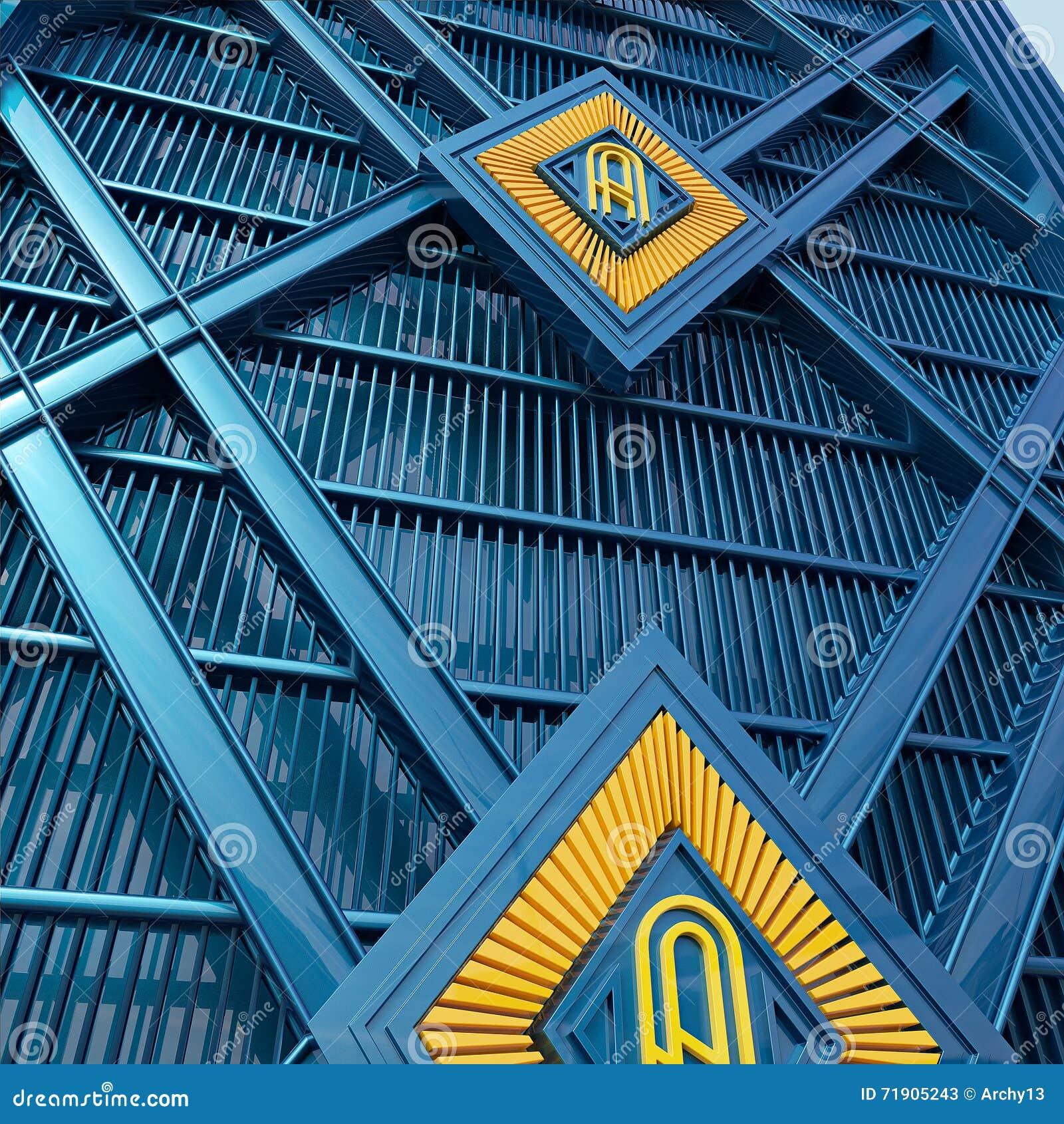 Le Style D Art Déco De Mur Fait En Fond Métallique Bleu Et