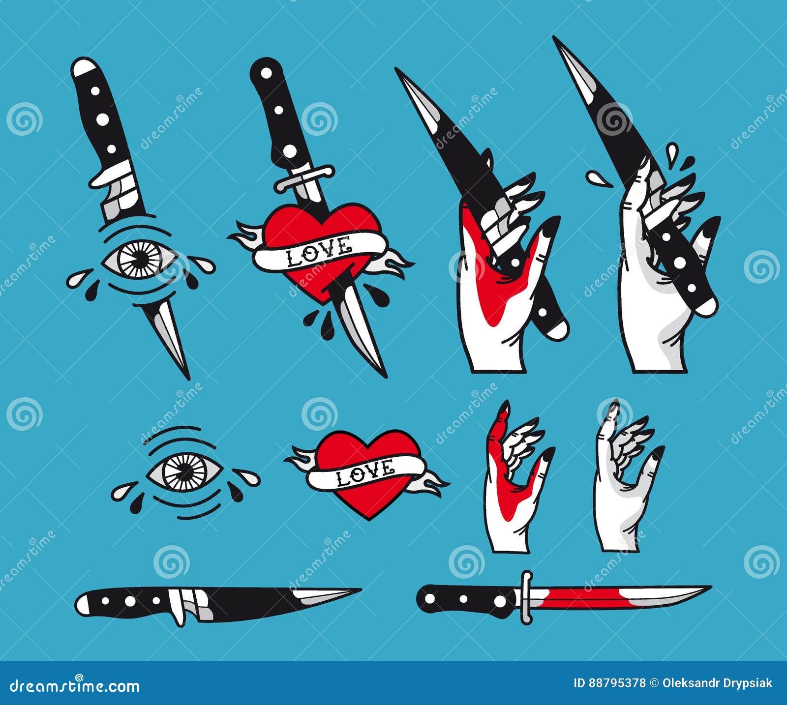 Le Style Traditionnel De Tatouage De Vecteur A Place Des Coeurs