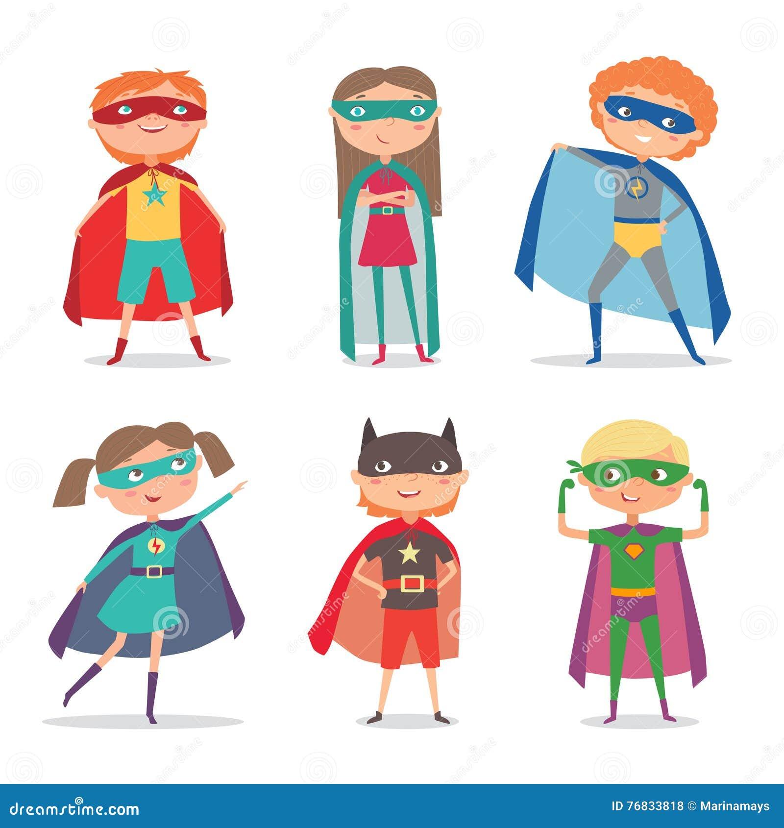Le super h ros badine des gar ons et des filles illustration de vecteur de dessin anim - Dessin de super heros fille ...