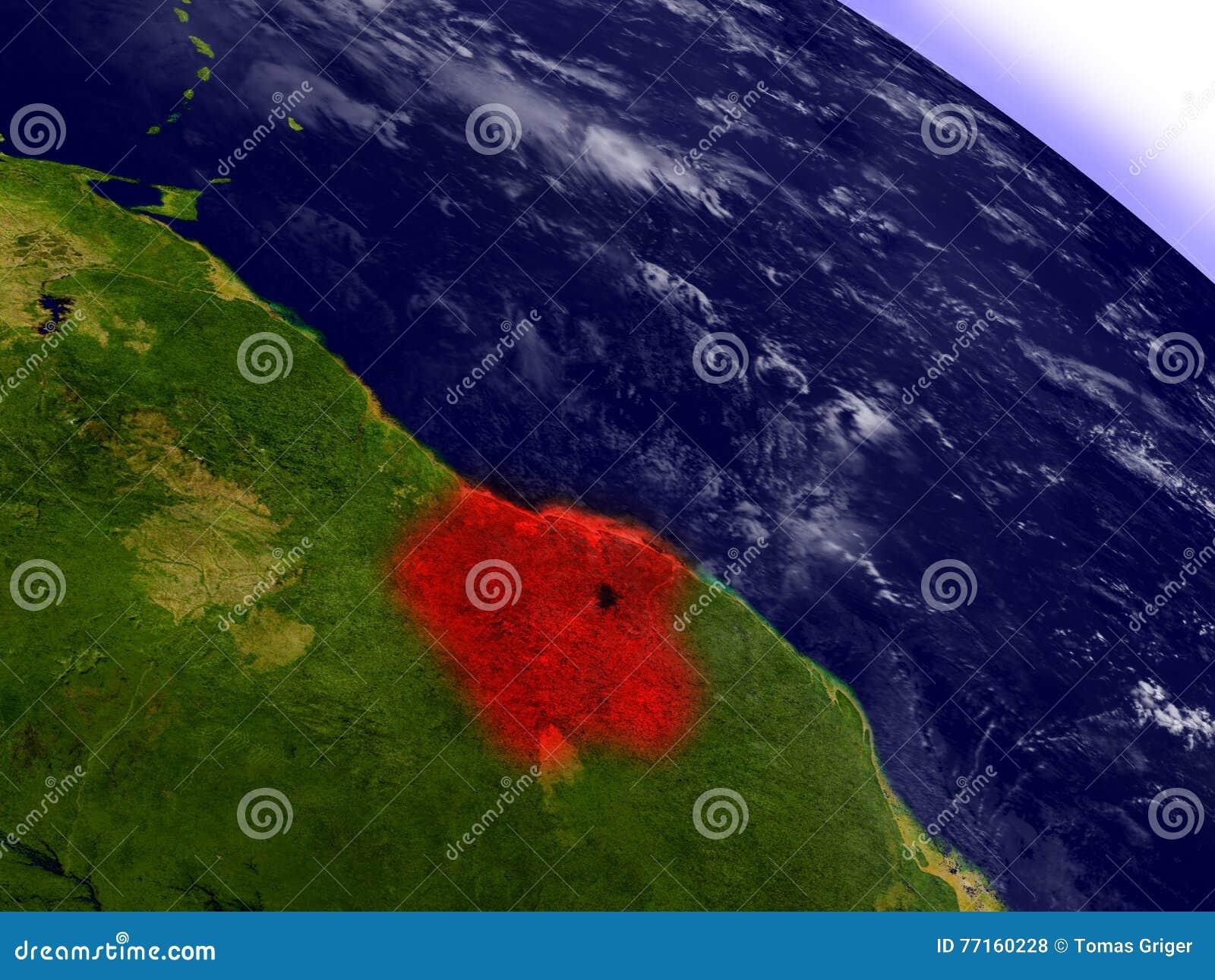 Le Surinam de l espace accentué en rouge