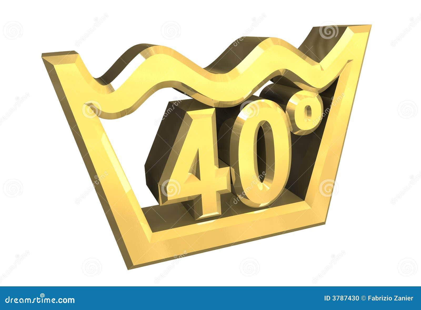 le symbole de lavage de 40 degr s en or a isol 3d photo stock image 3787430. Black Bedroom Furniture Sets. Home Design Ideas