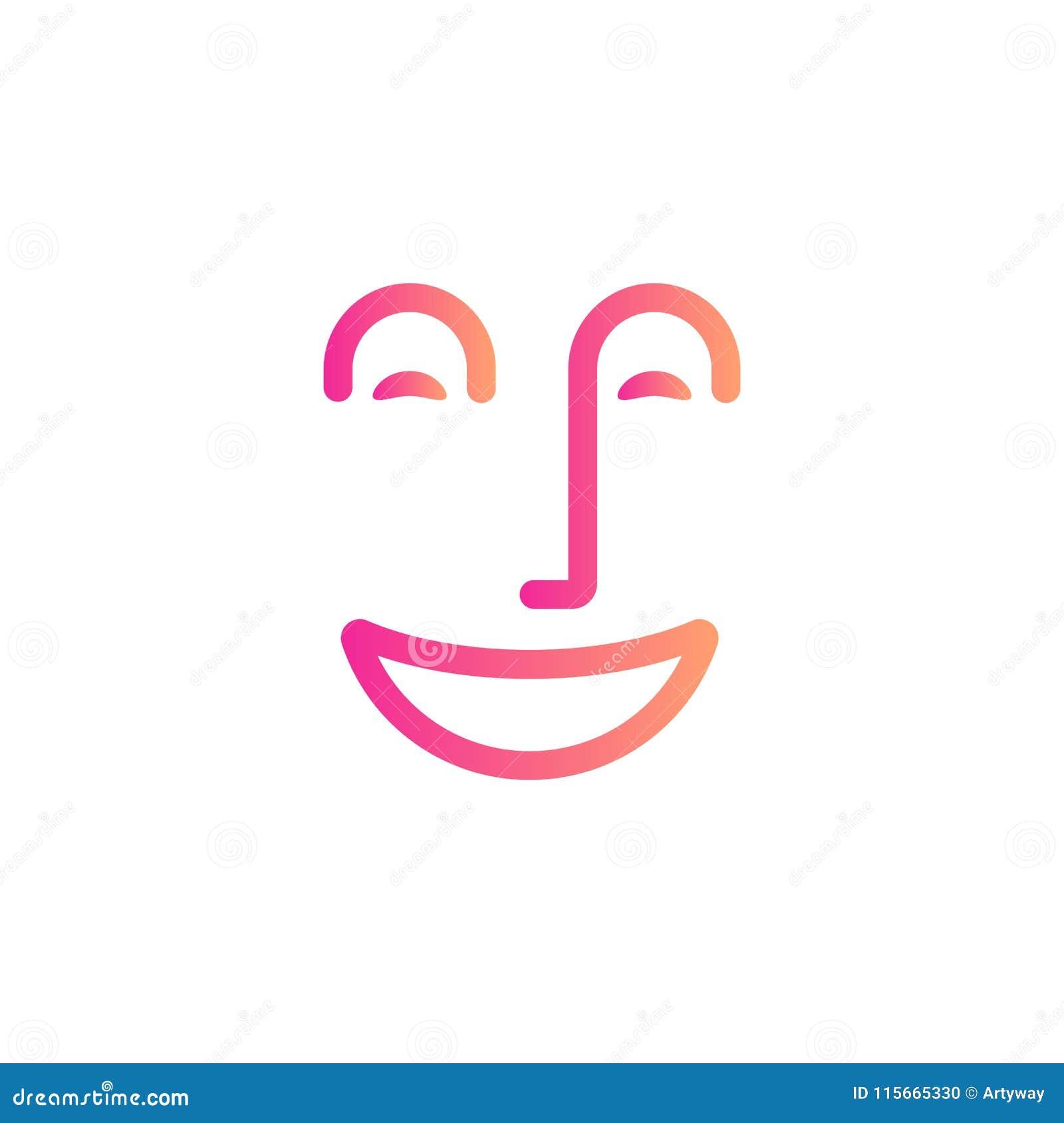 Le symbole de visage de sourire, les personnes heureuses soustraient la ligne icône, humeur gaie, émotion positive, calibre linéa