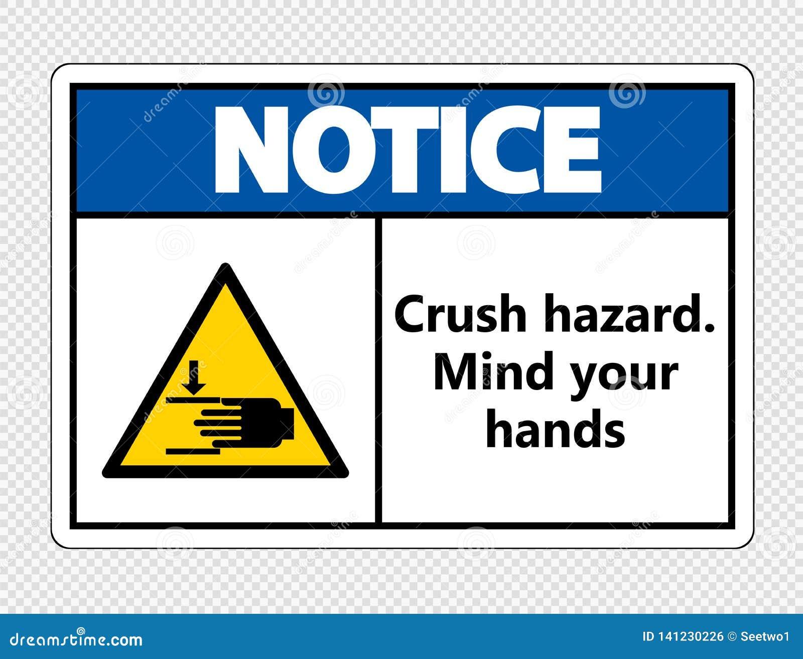 Le symbop notent le risque d écrasement Occupez-vous de vos mains se connectent le fond transparent