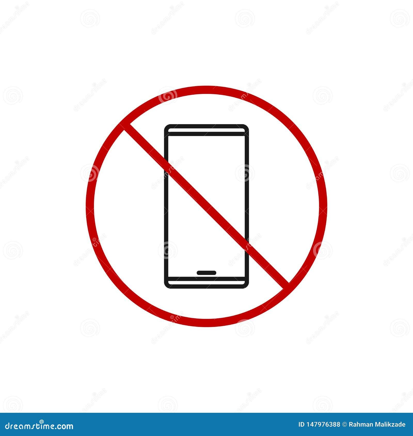 Le t?l?phone interdit emploient le signe aucune ic?ne de Smartphone Illustration moderne simple de vecteur