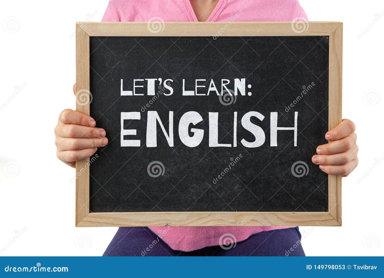 Le Tableau Noir Avec Nous A Laisses Apprendre Le Texte Anglais Image Stock Image Du Concept Typographie 149798053