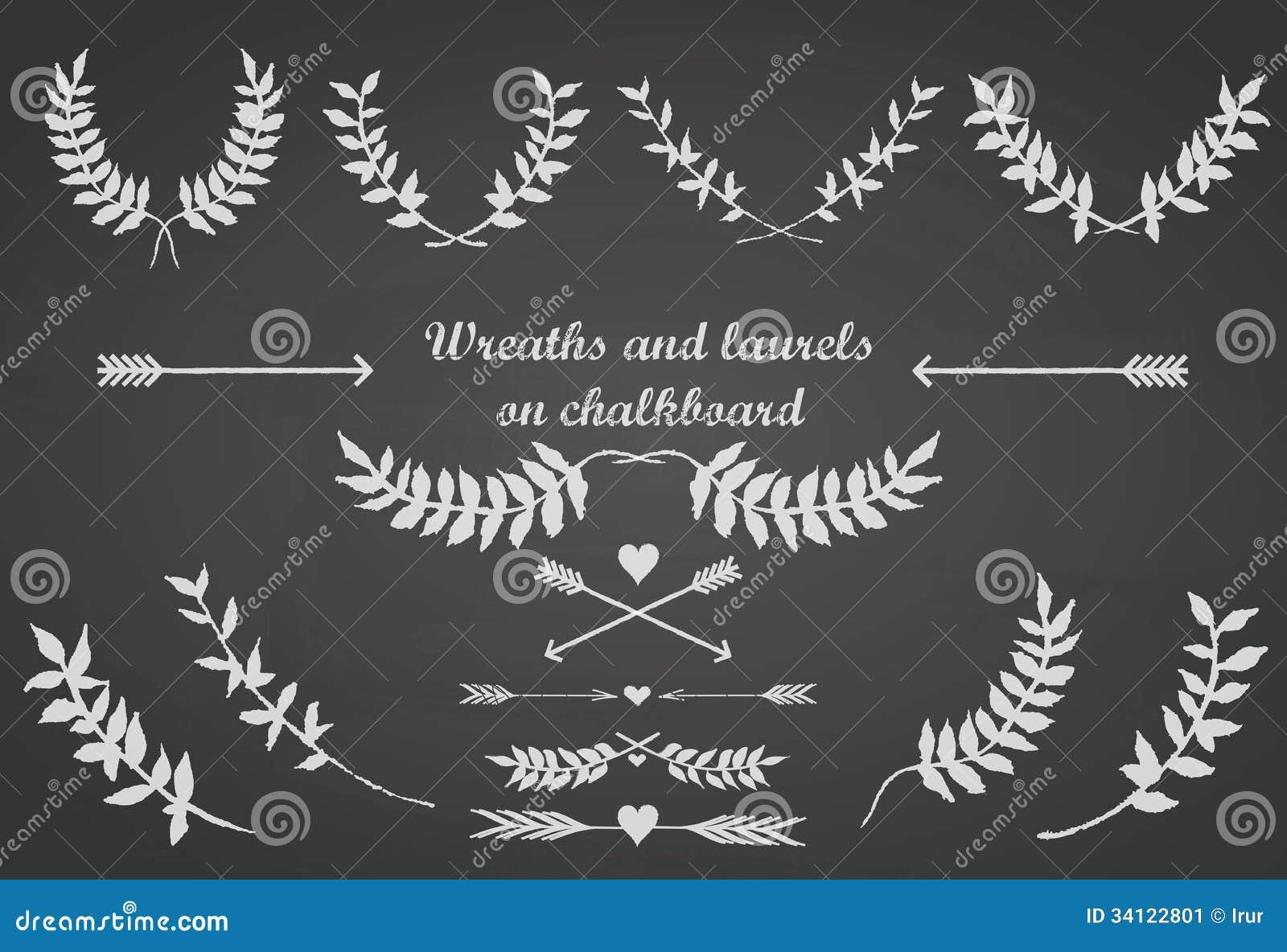 Le tableau a placé avec des lauriers, des flèches et des coeurs