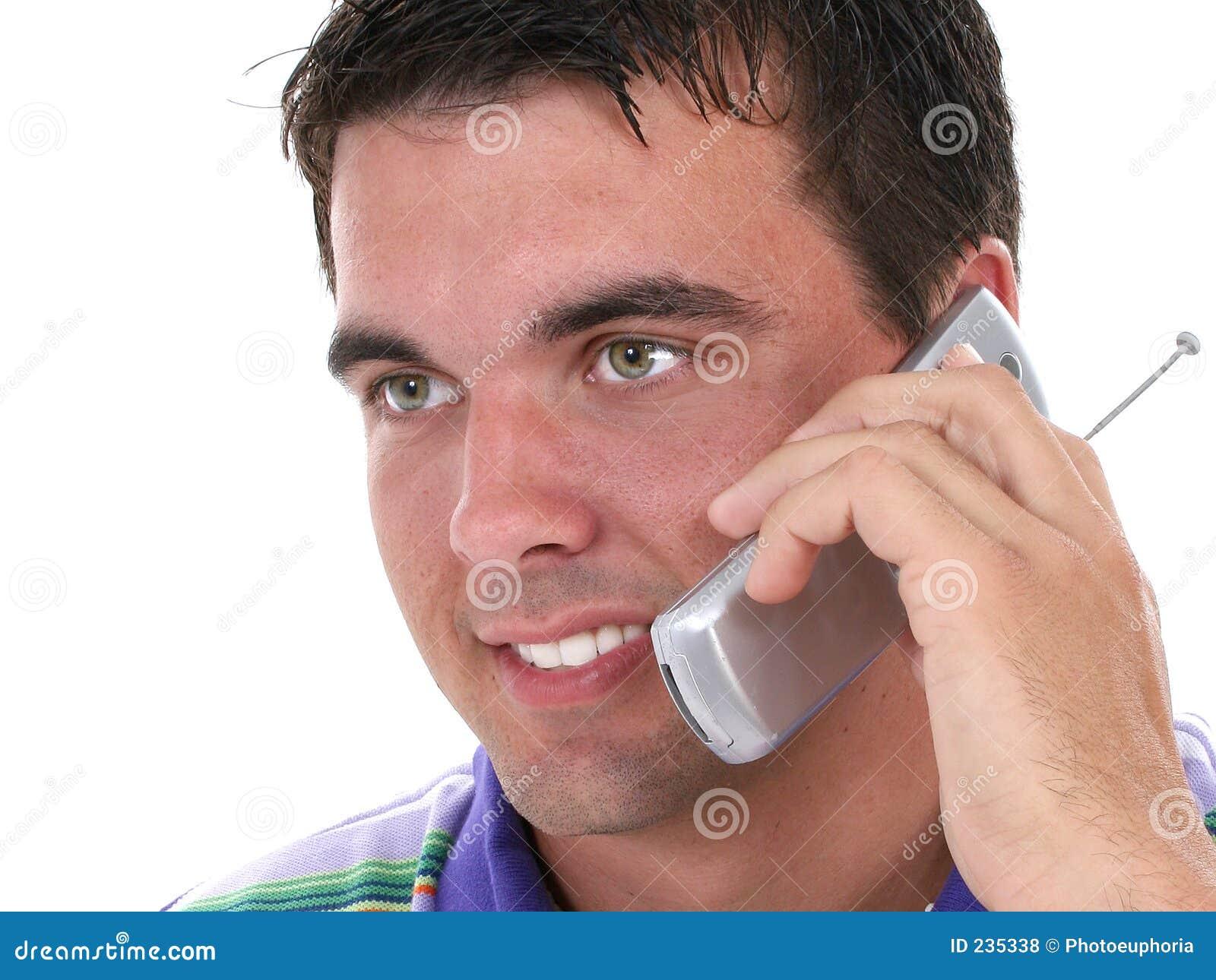 Le talande barn för attraktiv mobiltelefonman
