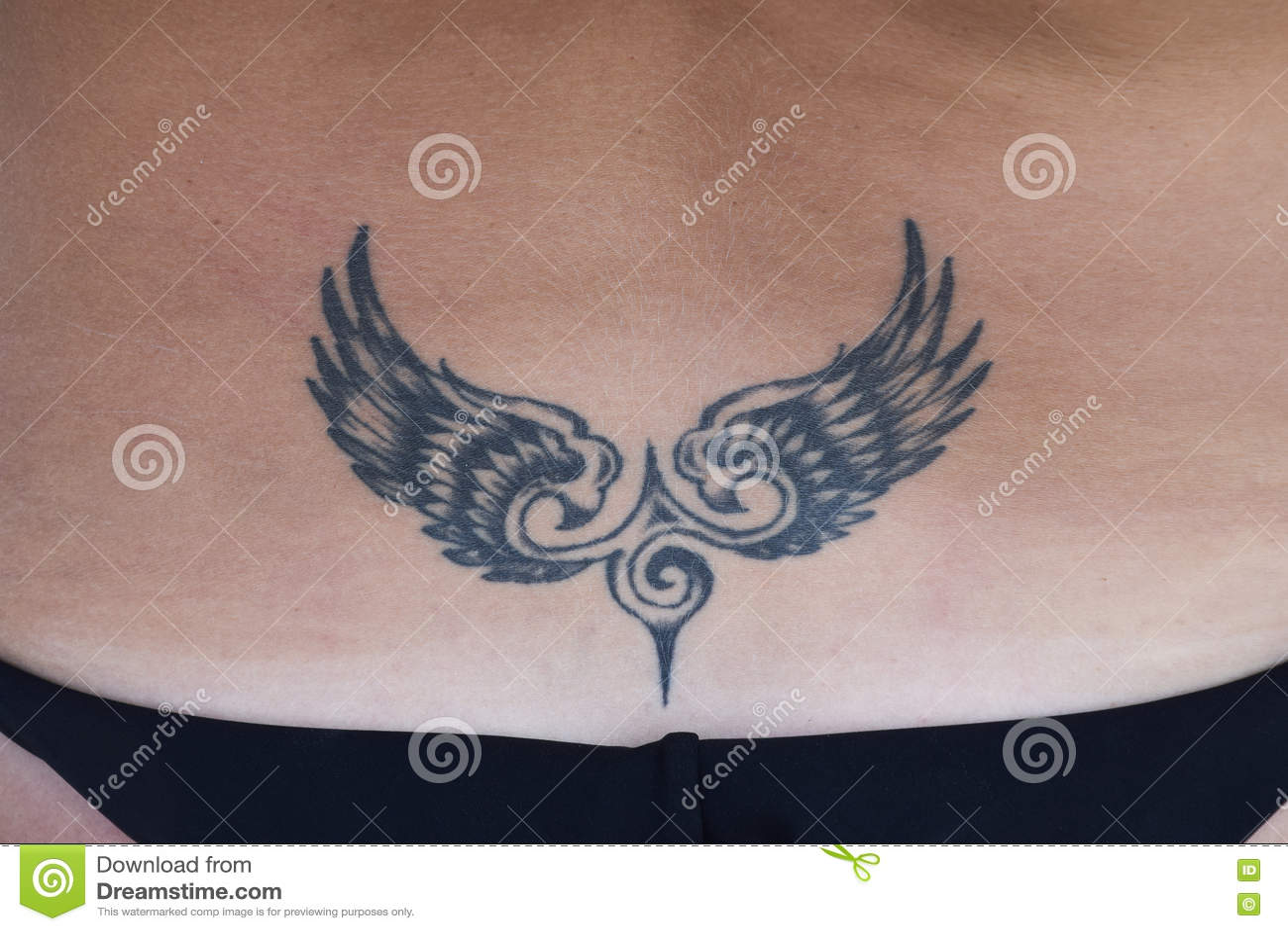 le tatouage sous forme d 39 ailes sur le dos photo stock image du blanc symbole 76711332. Black Bedroom Furniture Sets. Home Design Ideas