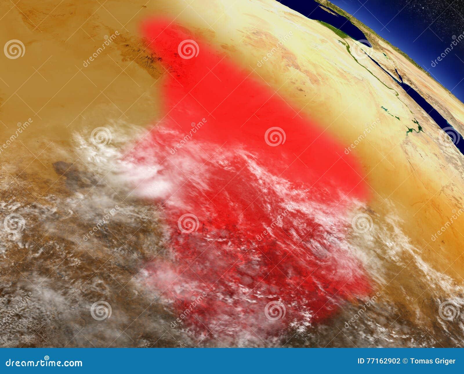 Le Tchad de l espace accentué en rouge