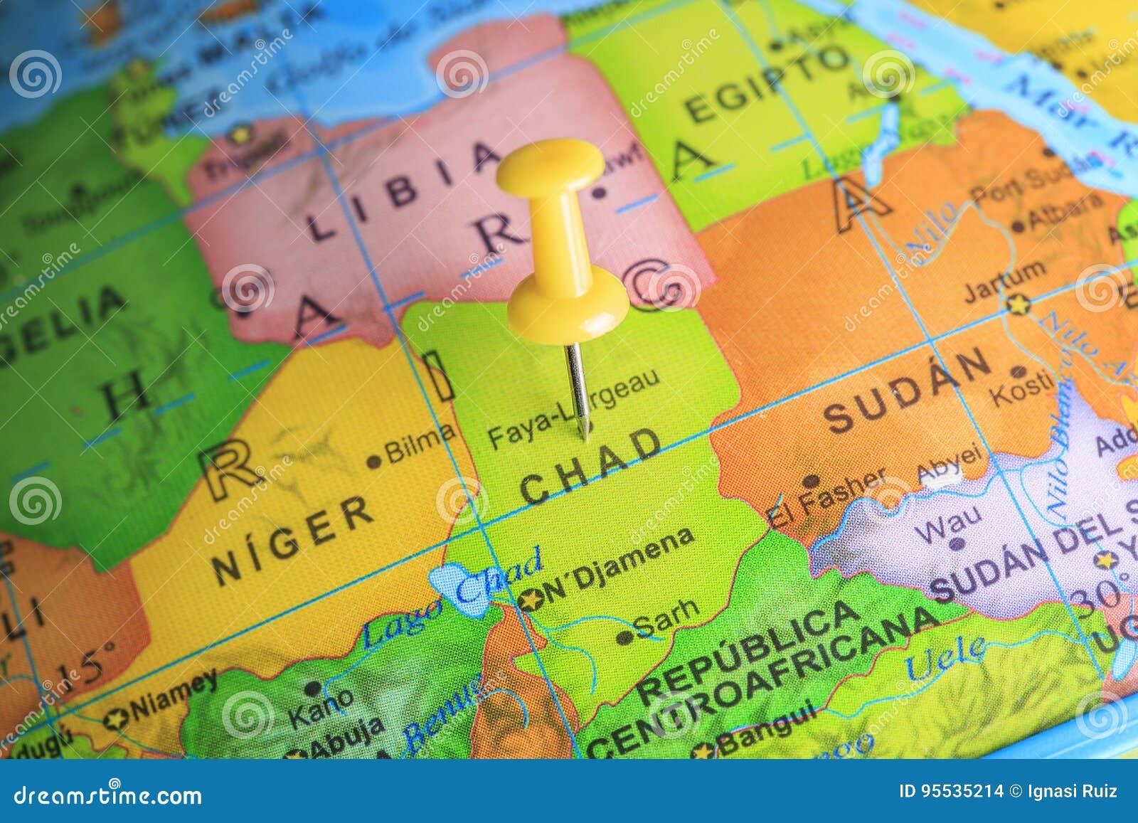 Carte De Lafrique Tchad.Le Tchad A Goupille Sur Une Carte De L Afrique Photo Stock