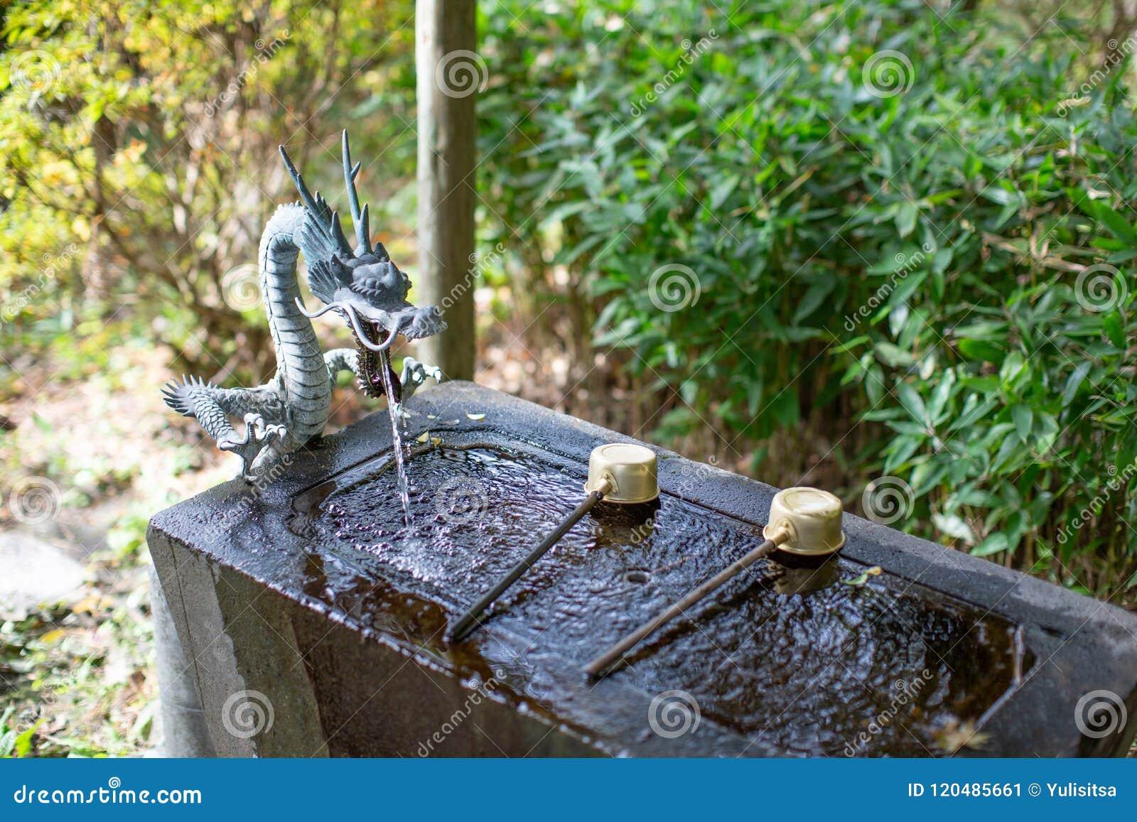 Le temizuya de bassin de purification d eau