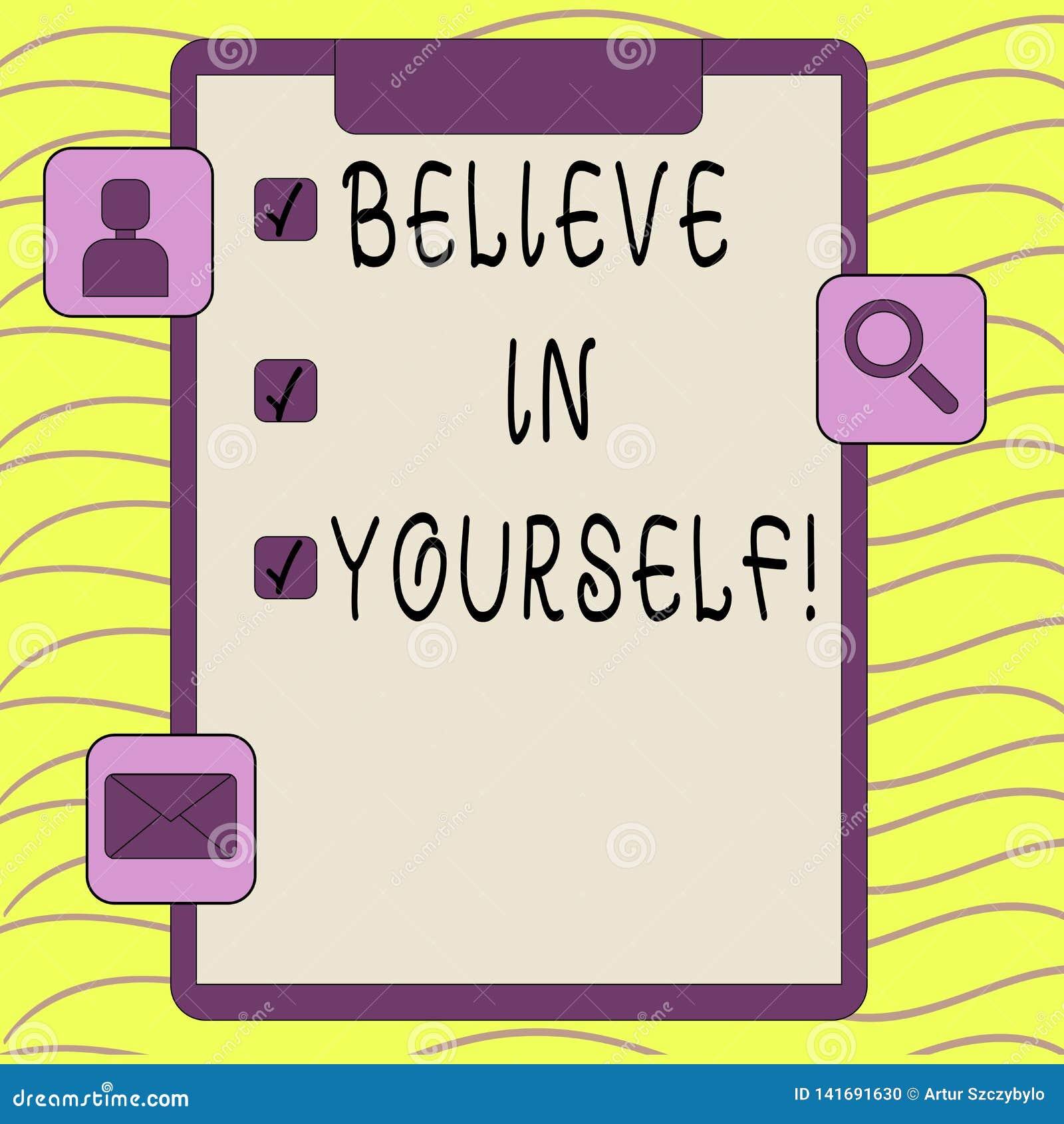 Le texte d écriture de Word croient en vous-même Concept d affaires pour la croyance de foi de confiance de courage de positivité
