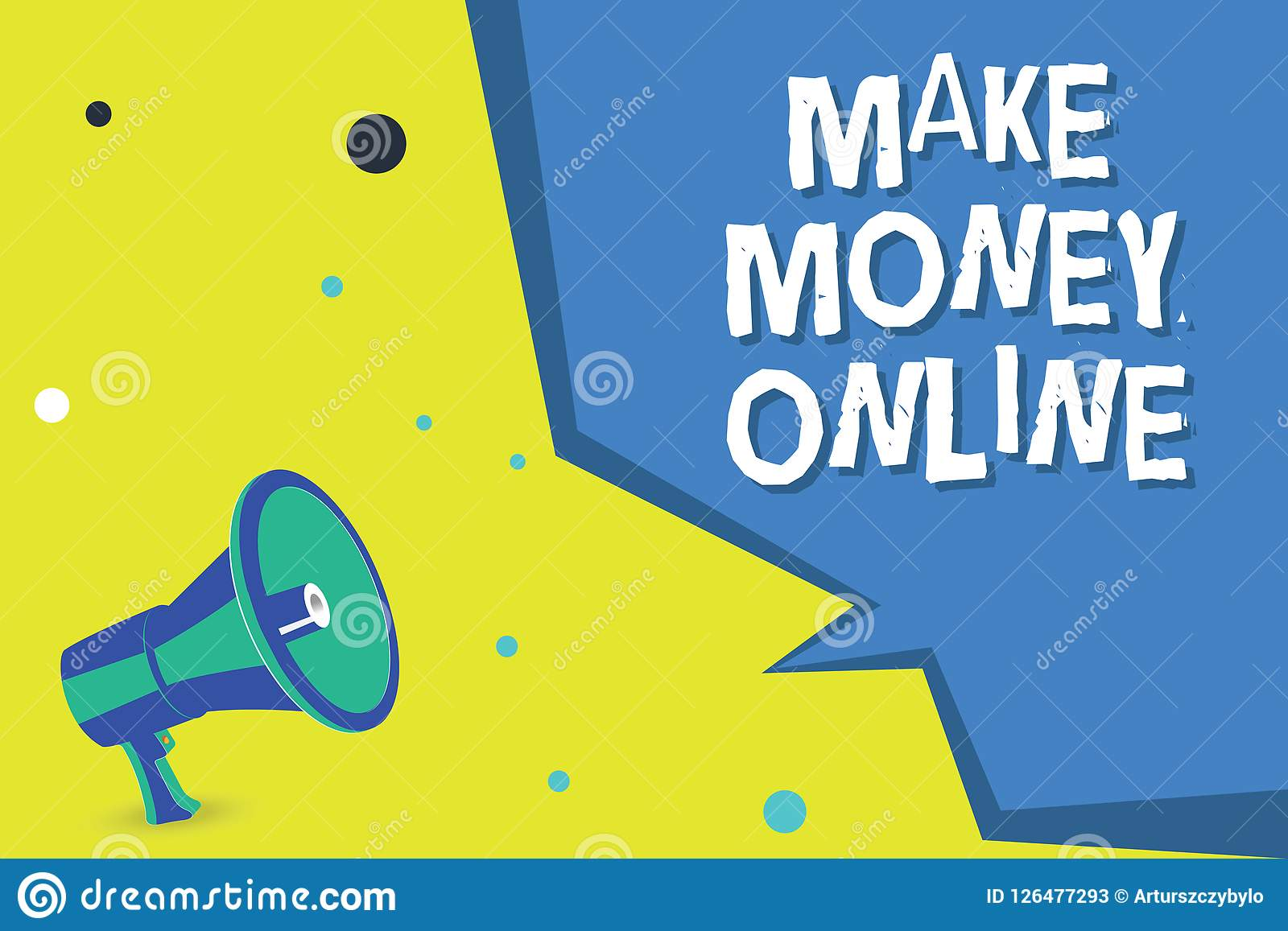 Le texte d écriture de Word gagnent l argent en ligne Concept d affaires pour le commerce de commerce électronique se vendant au-
