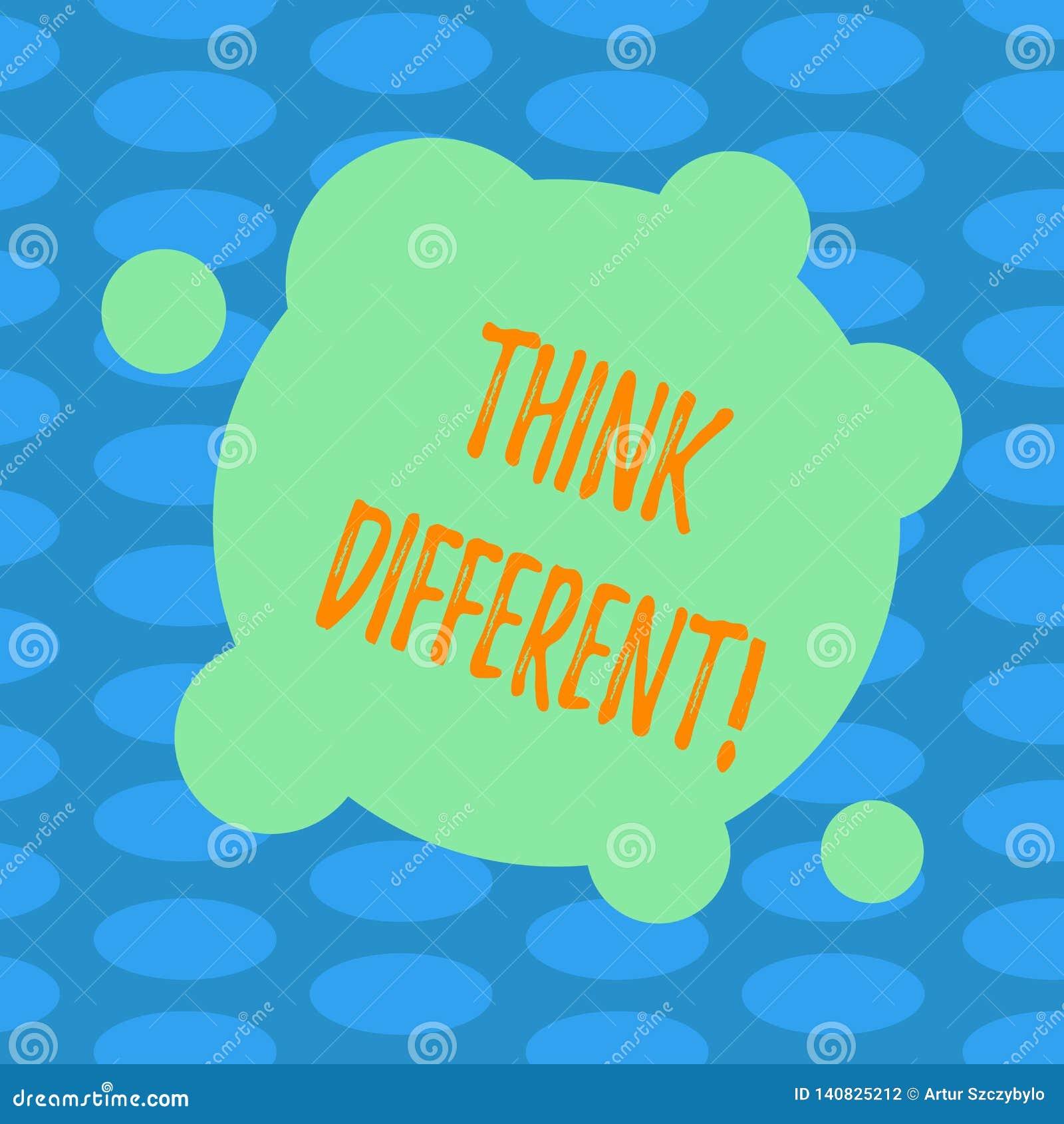 Le texte d écriture de Word pensent différent Le concept d affaires pour le changement Rethink sur la vision acquièrent de nouvel