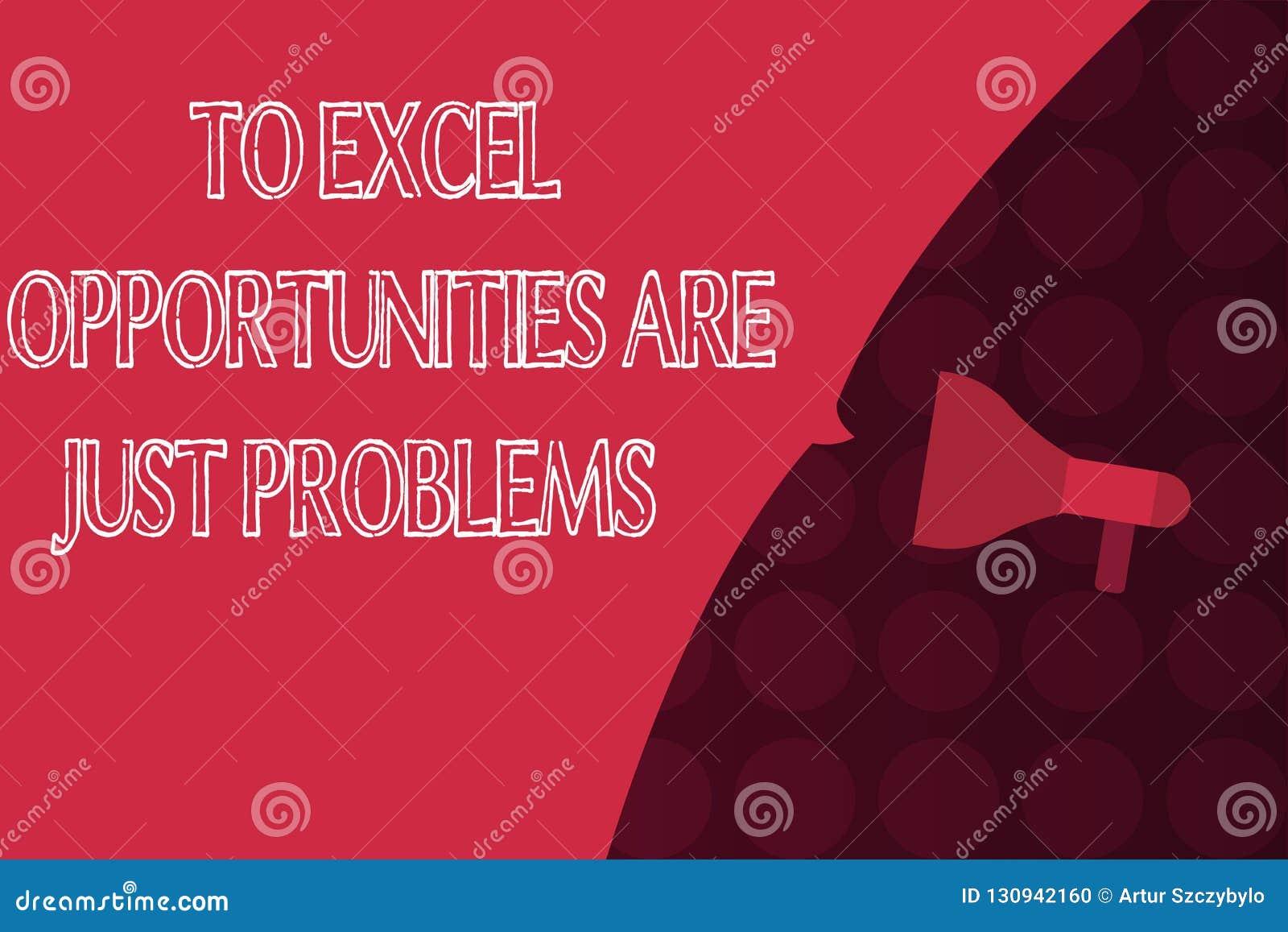Le texte d écriture de Word pour exceler des occasions sont juste des problèmes Concept d affaires pour la crainte de zone de con