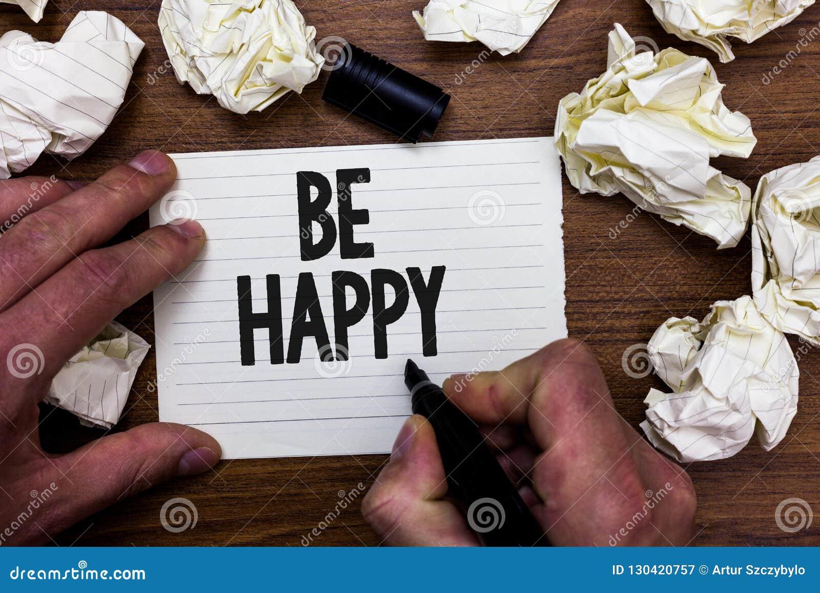 Le texte d écriture de Word soit heureux Le concept d affaires pour vivent chaque moment comme dernier amour votre noteb de marqu