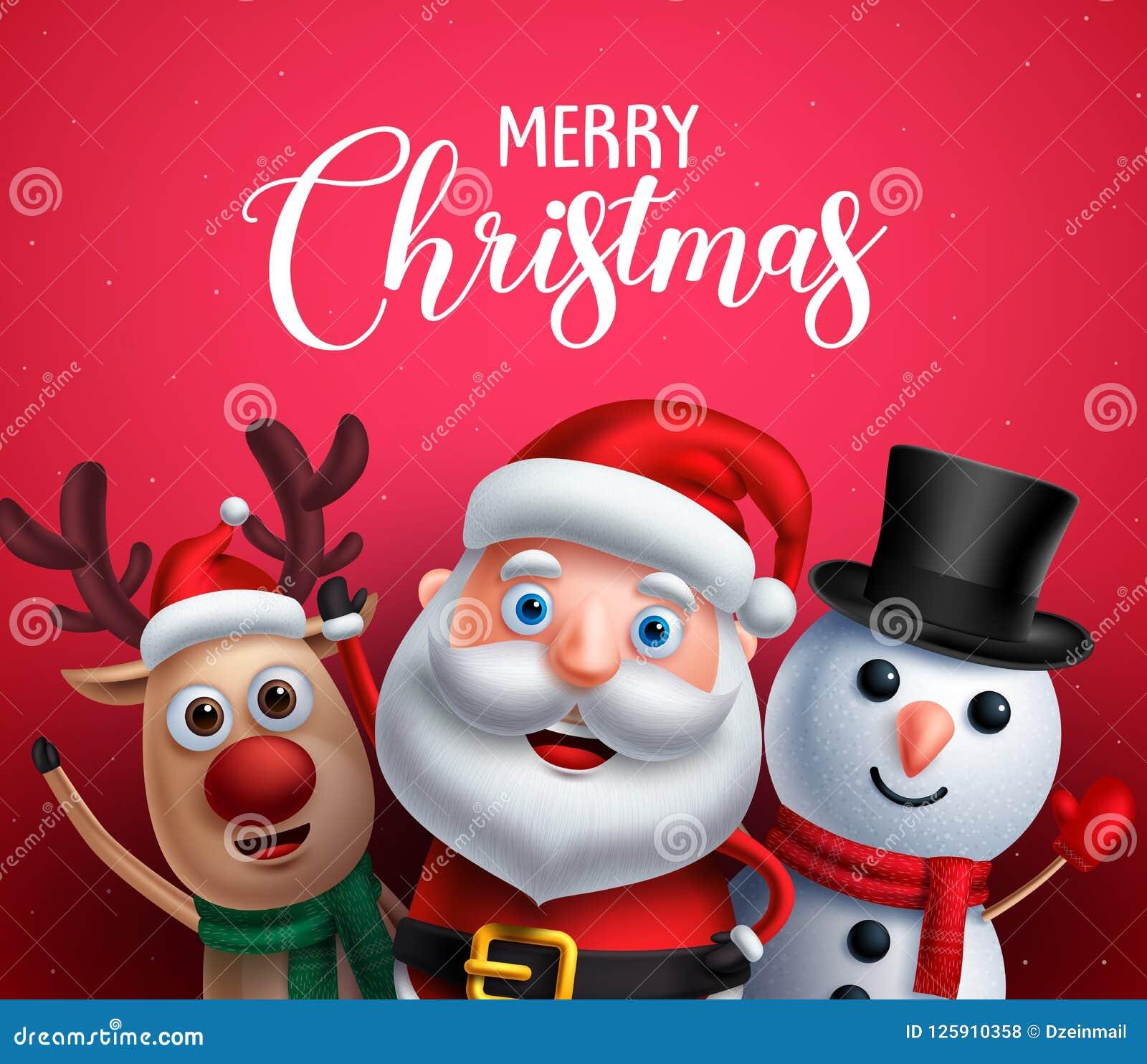 Le texte de salutation de Joyeux Noël avec le père noël, le renne et le bonhomme de neige dirigent des caractères