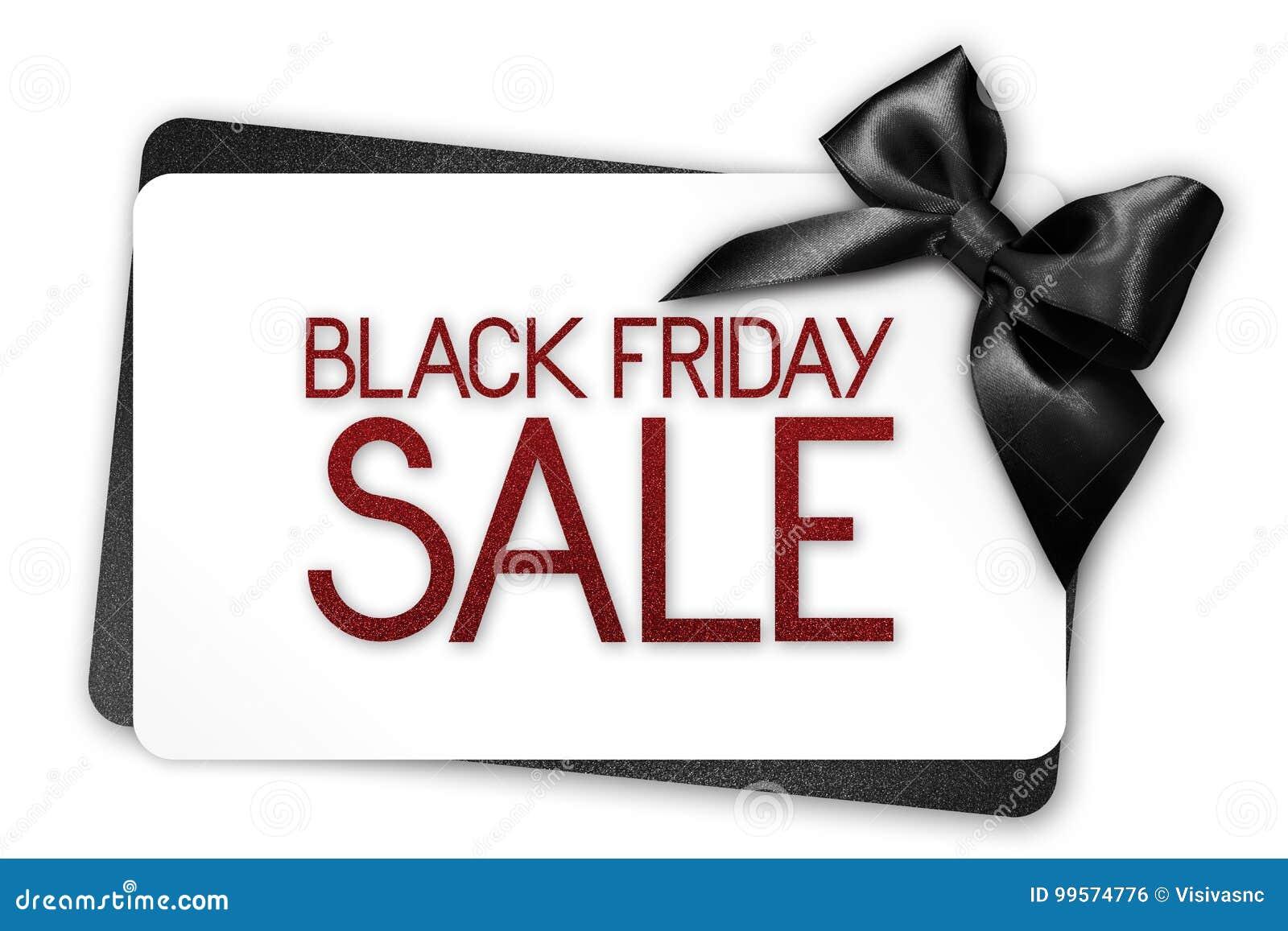 Le texte de vente de Black Friday écrivent sur la carte cadeaux blanche avec le ribbo noir