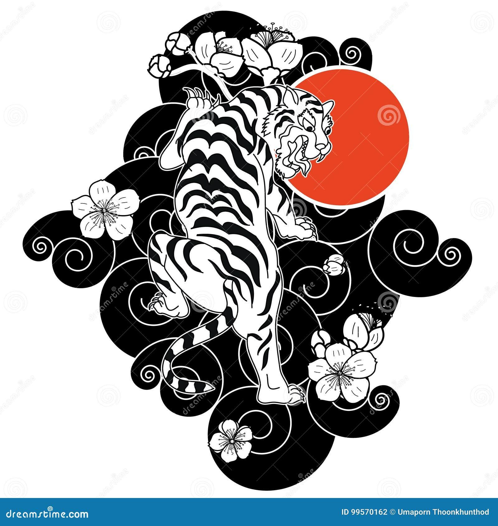 le tigre avec la fleur et le tatouage japonais de nuage con oivent le vecteur illustration de. Black Bedroom Furniture Sets. Home Design Ideas