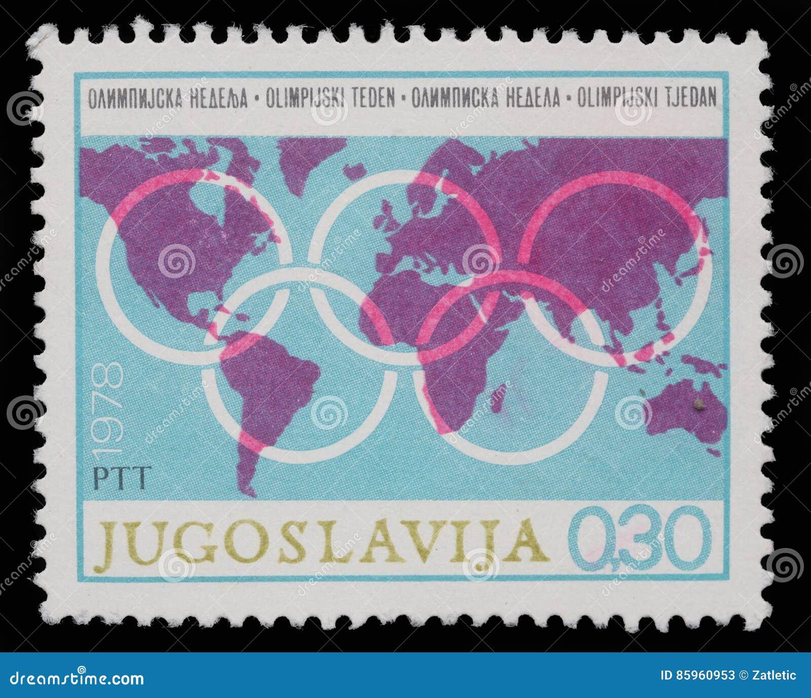 Le timbre imprimé en Yougoslavie montre la semaine olympique
