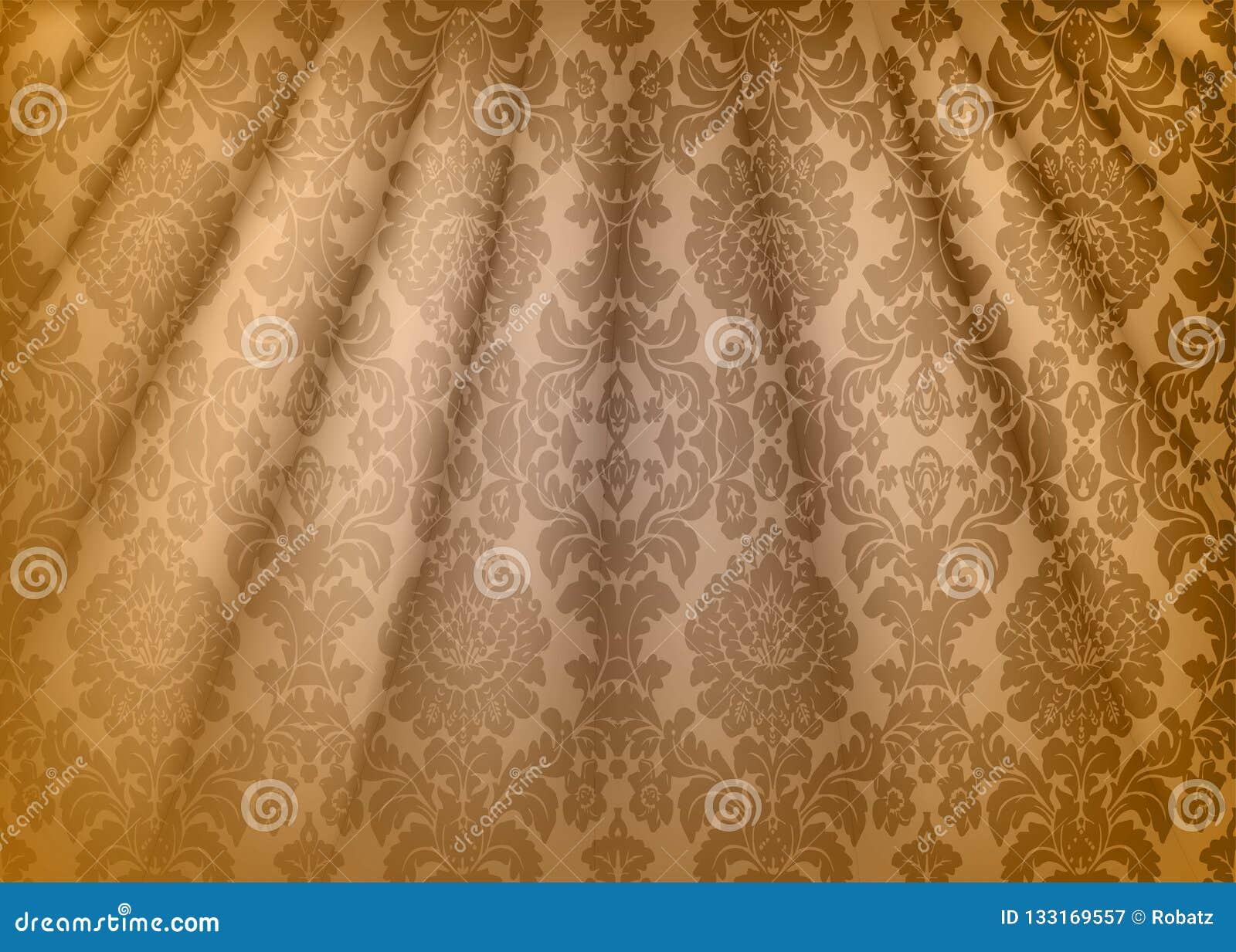 Le Tissu De Damassé Drapent Papier Peint De Luxe Dans Le Style Du