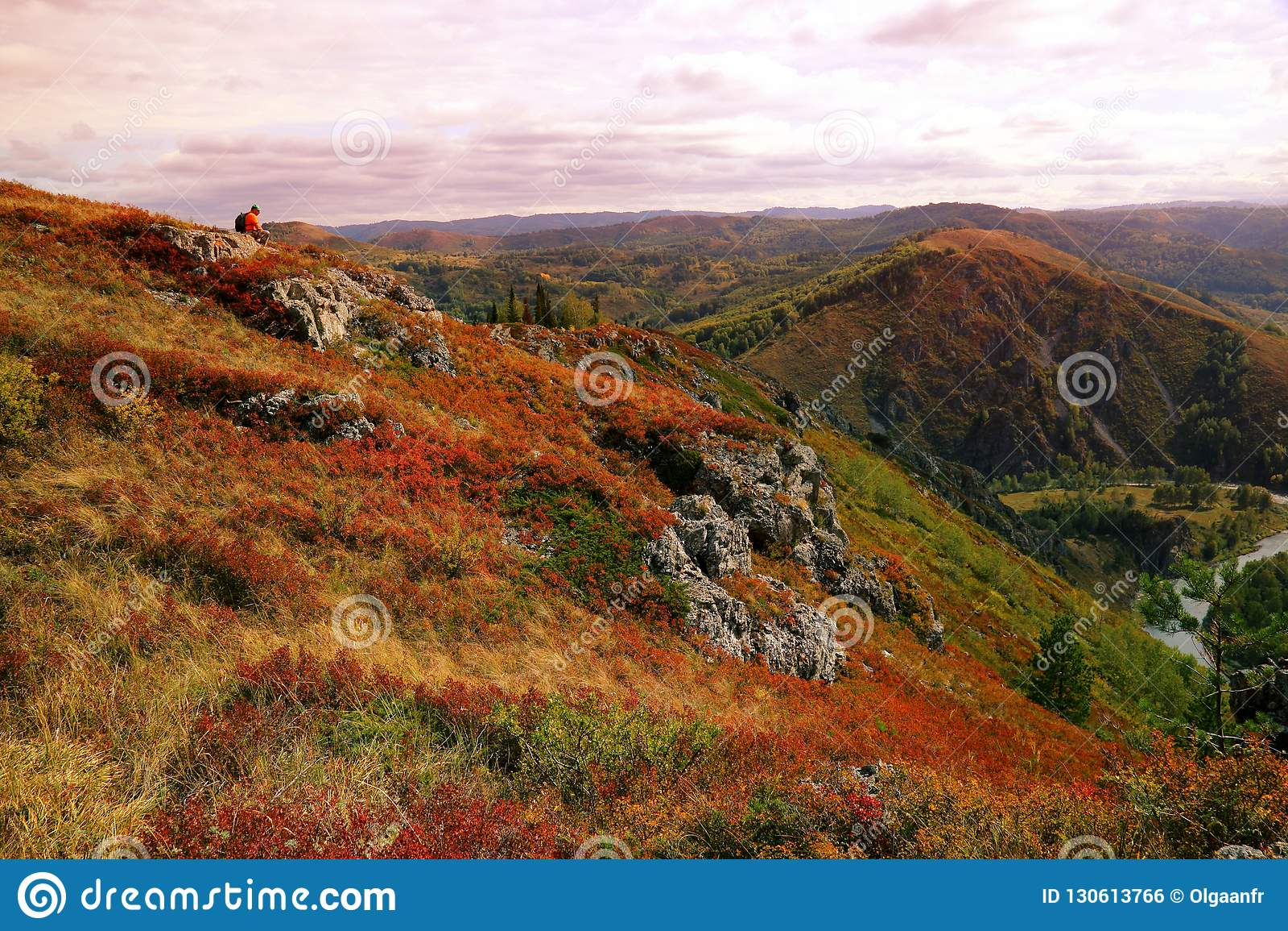 Le touriste seul dans un gilet orange s assied au sommet d une colline dans un natu
