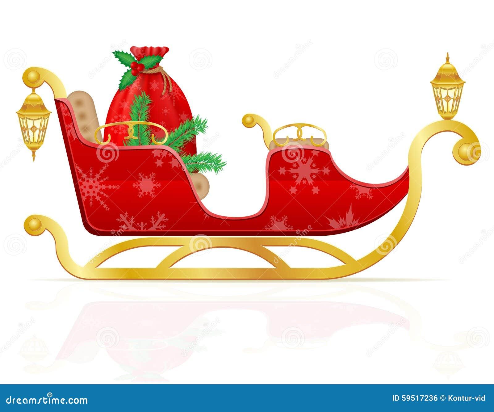 Le Traineau Rouge De Noel Du Pere Noel Avec Des Cadeaux Dirigent L