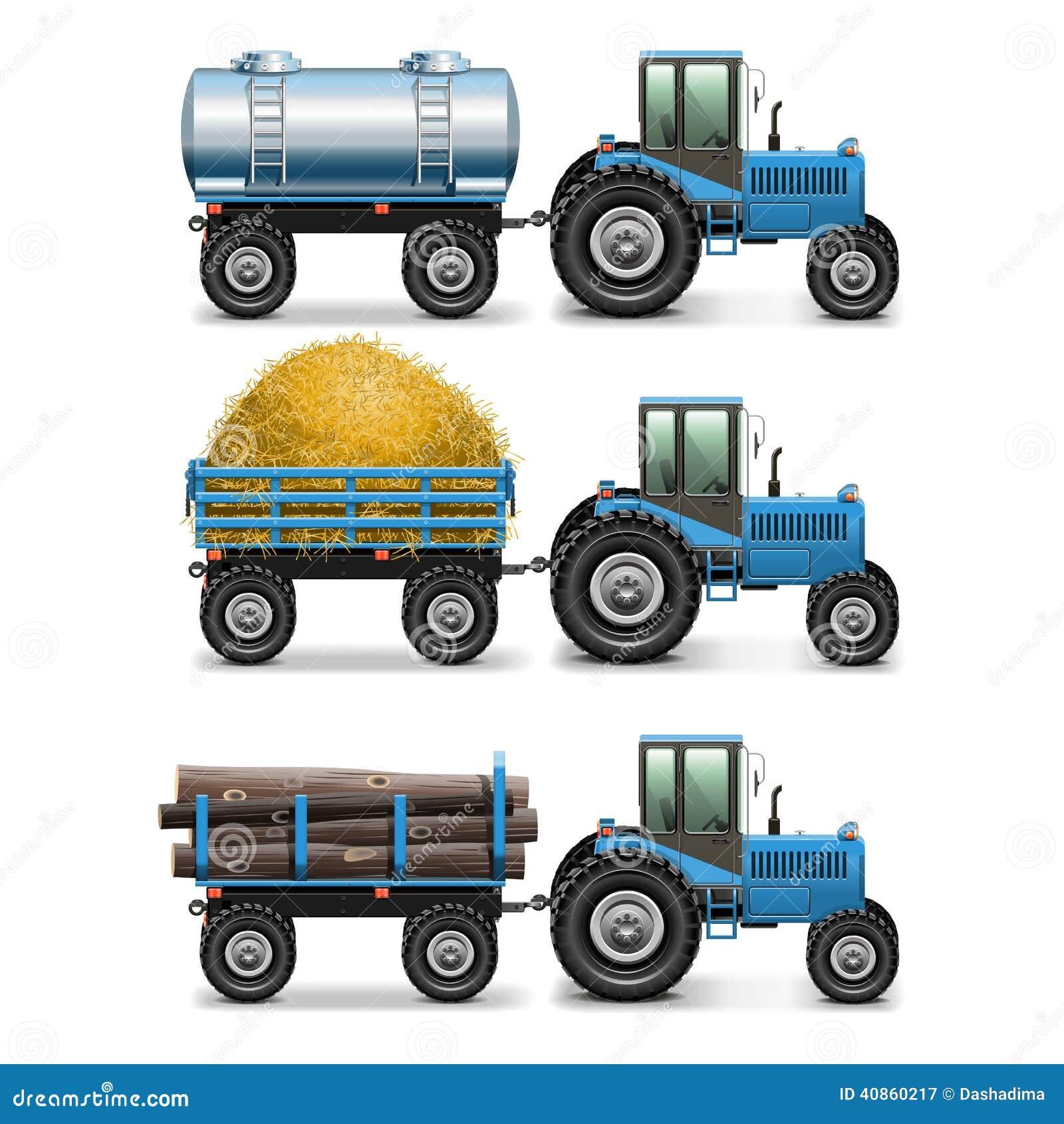 Le tracteur agricole de vecteur a placé 4