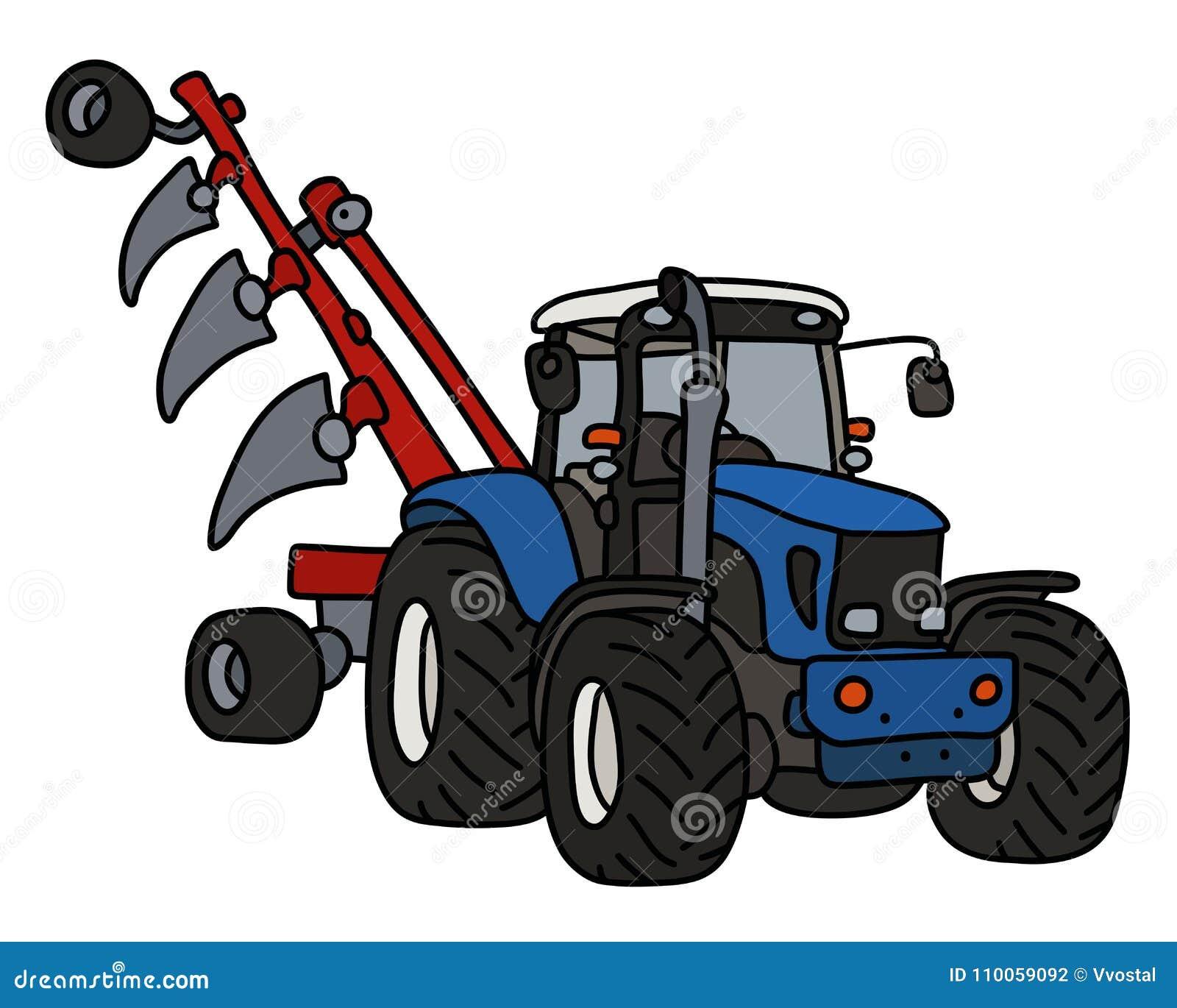 Le Tracteur Bleu Avec Une Charrue Illustration De Vecteur