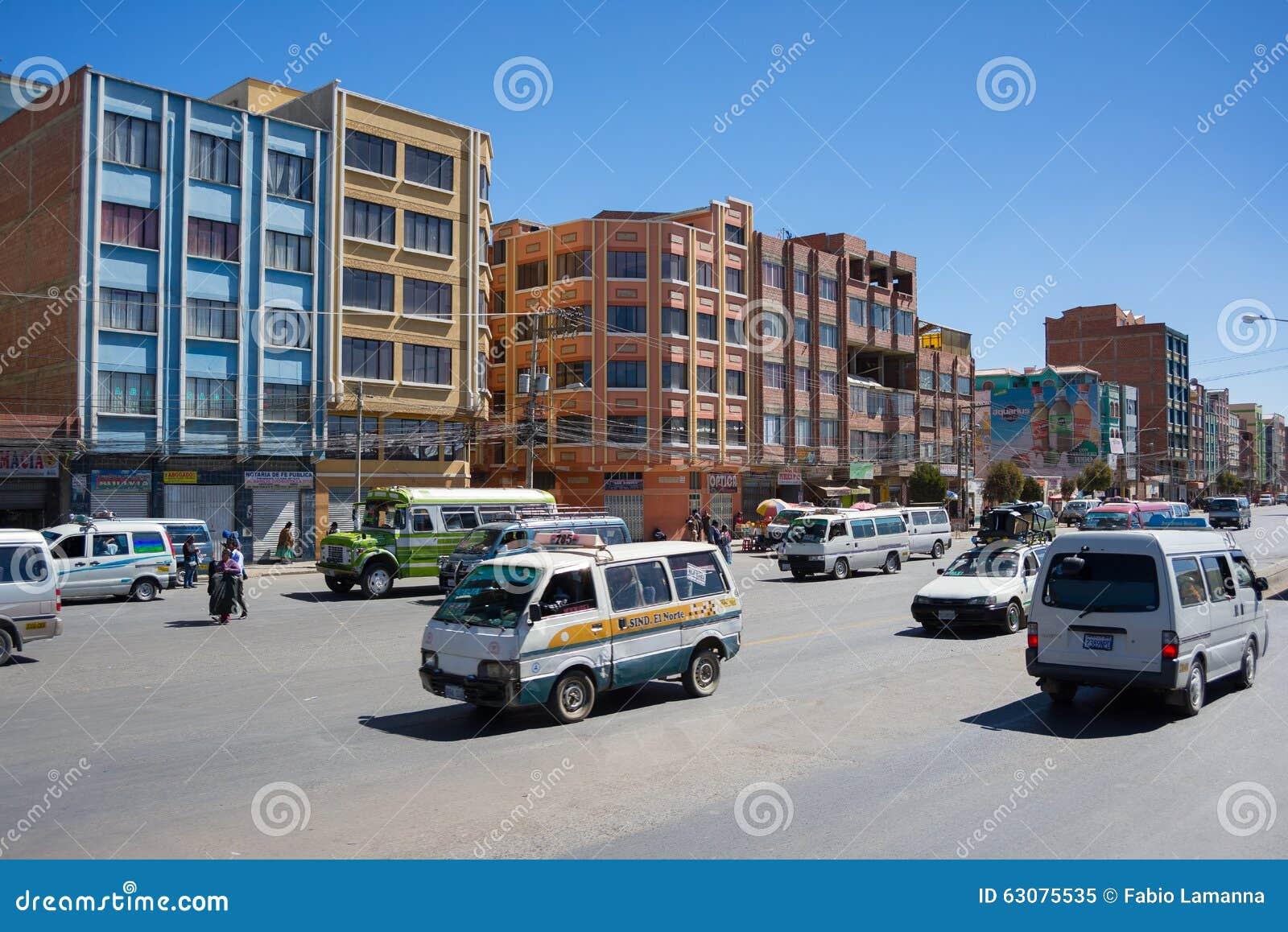 Download Le Trafic Ordinaire Dans Les Rues De La Paz, Bolivie Image éditorial - Image du avenue, jour: 63075535