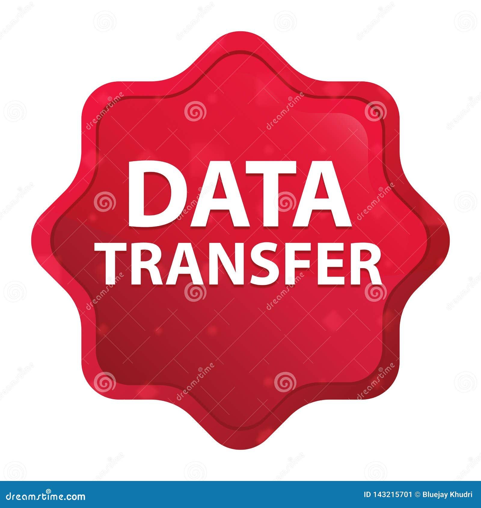 Le transfert des données brumeux a monté bouton rouge d autocollant de starburst